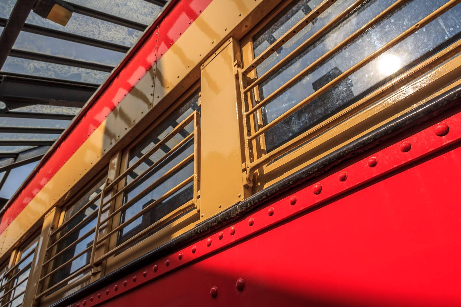 Detail of a Texas Electric Railway interurban mail car at the Interurban Railway Museum, Plano, Texas.