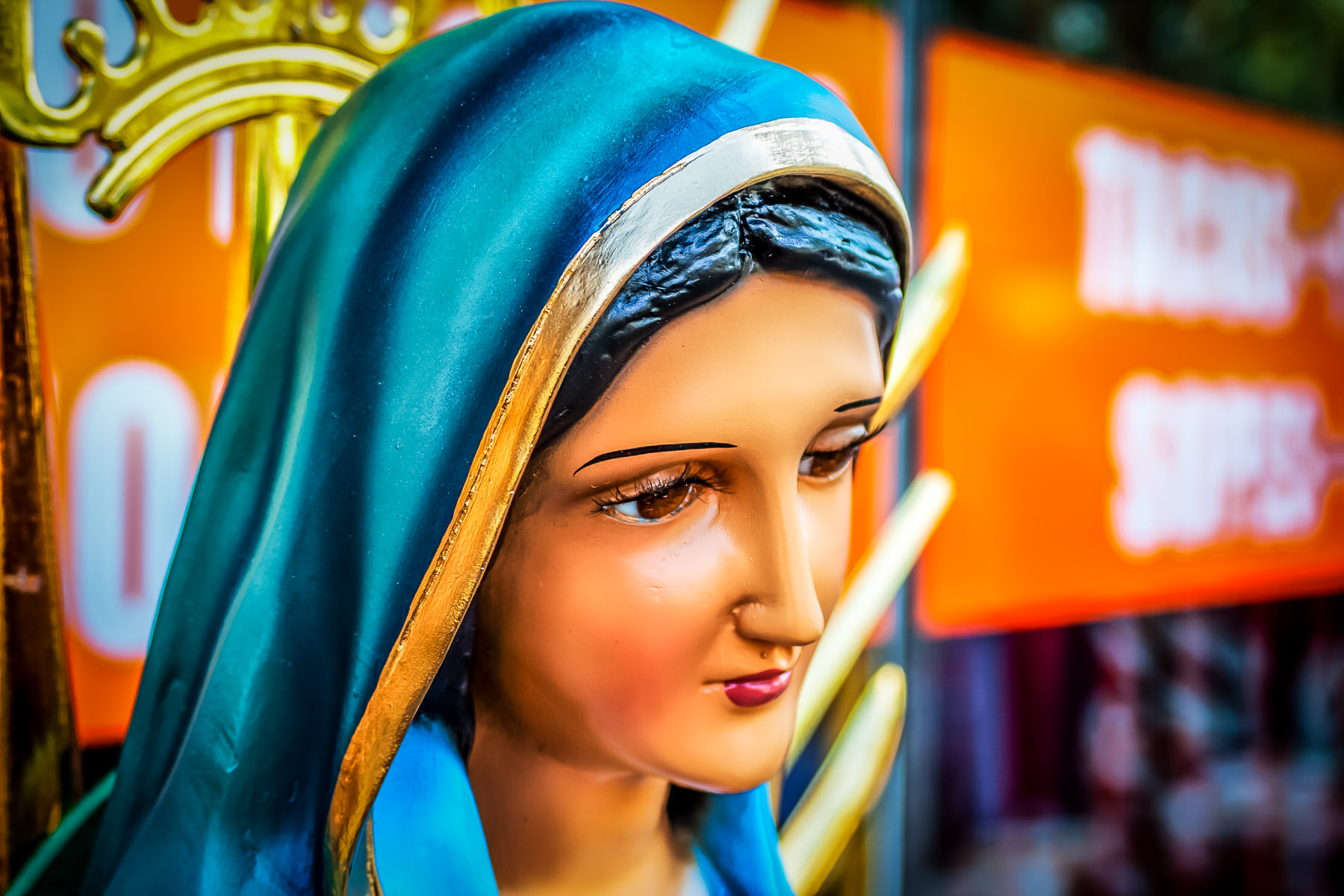 A statue of the Virgin Mary spotted in Oak Cliff, Dallas.