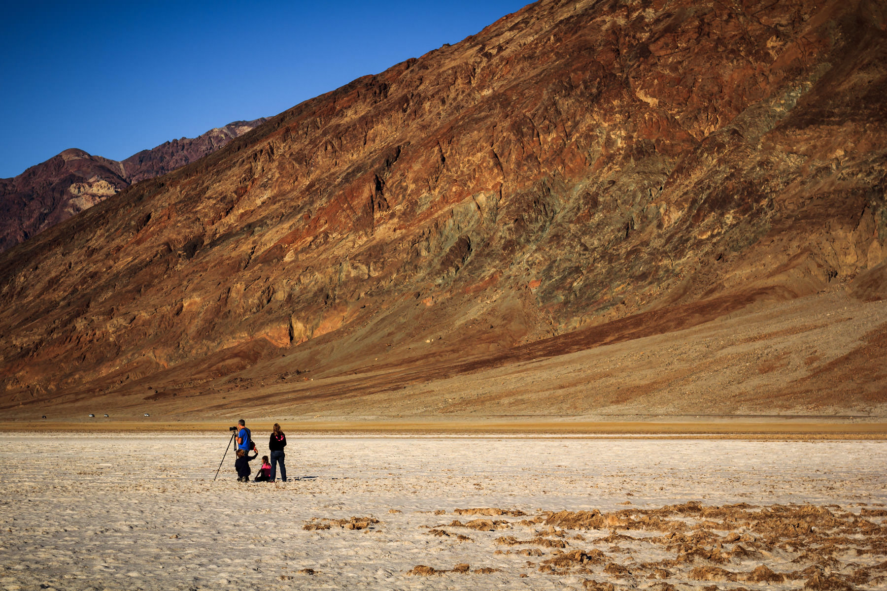 A fellow photographer takes a shot at Badwater Basin, Death Valley, California.