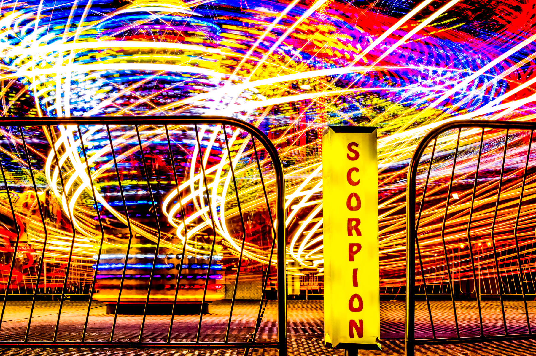 A long-exposure shot of a carnival ride at Addison Oktoberfest, Addison, Texas.
