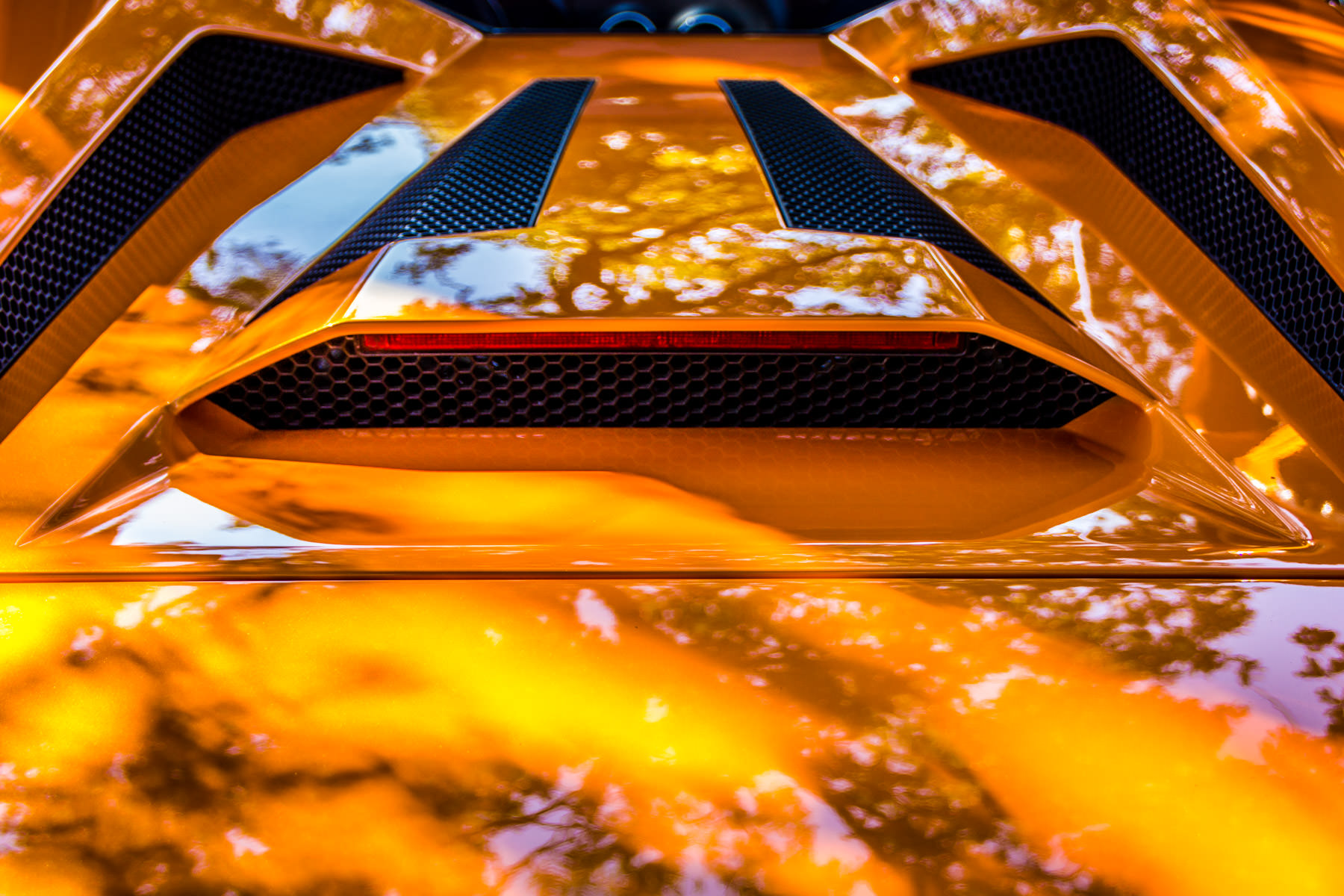 Detail of a Lamborghini Murciélago's engine cover at ItalianCarFest in Grapevine, Texas.