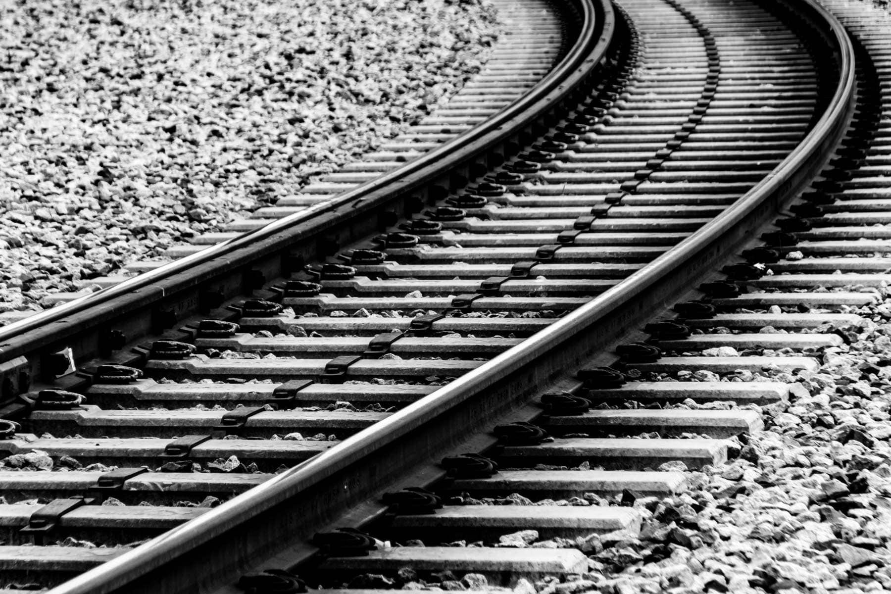 DART (Dallas Area Rapid Transit) light rail track just east of Downtown Dallas in Deep Ellum.