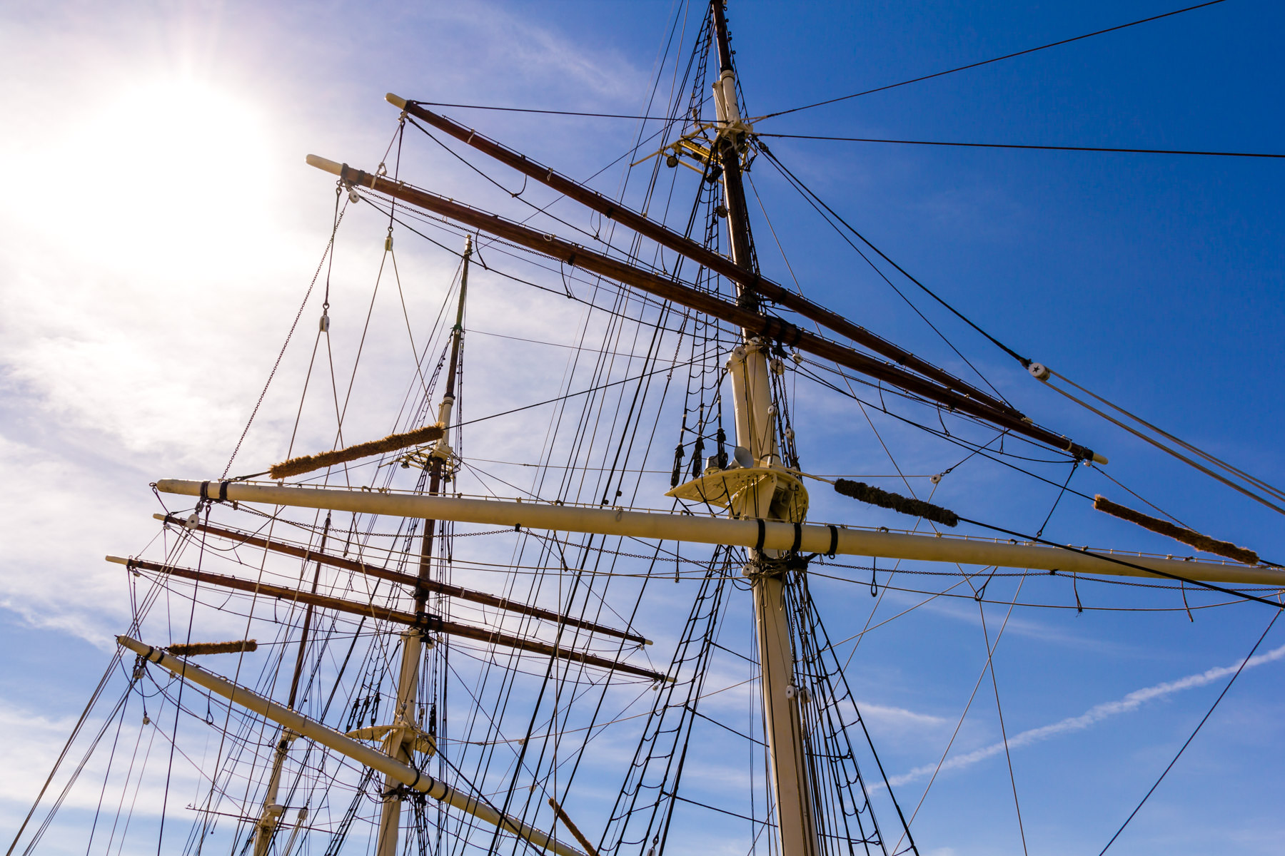 Detail of the Elissa, a tall ship launched in 1877 and now ported in Galveston, Texas.