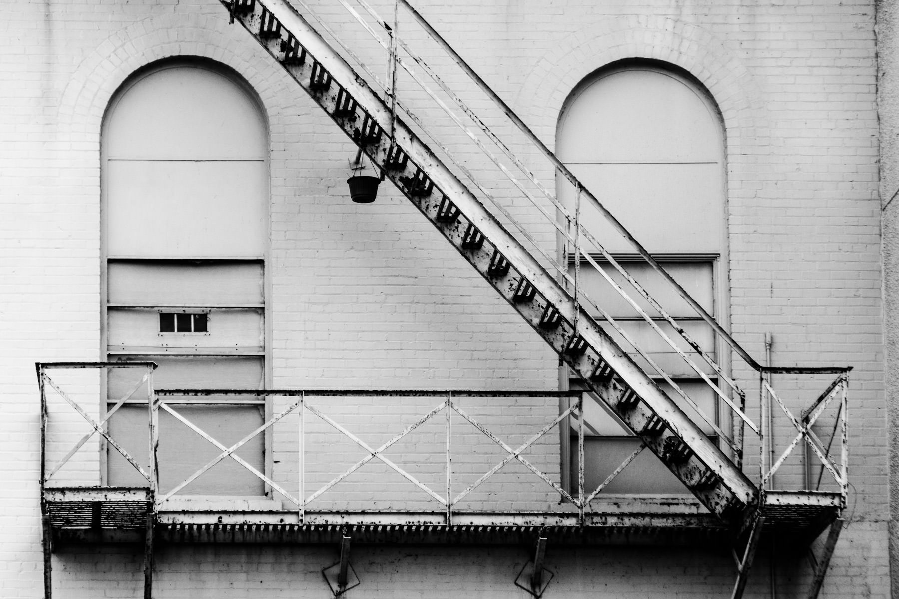 A fire escape on an abandoned building in Deep Ellum, Dallas.