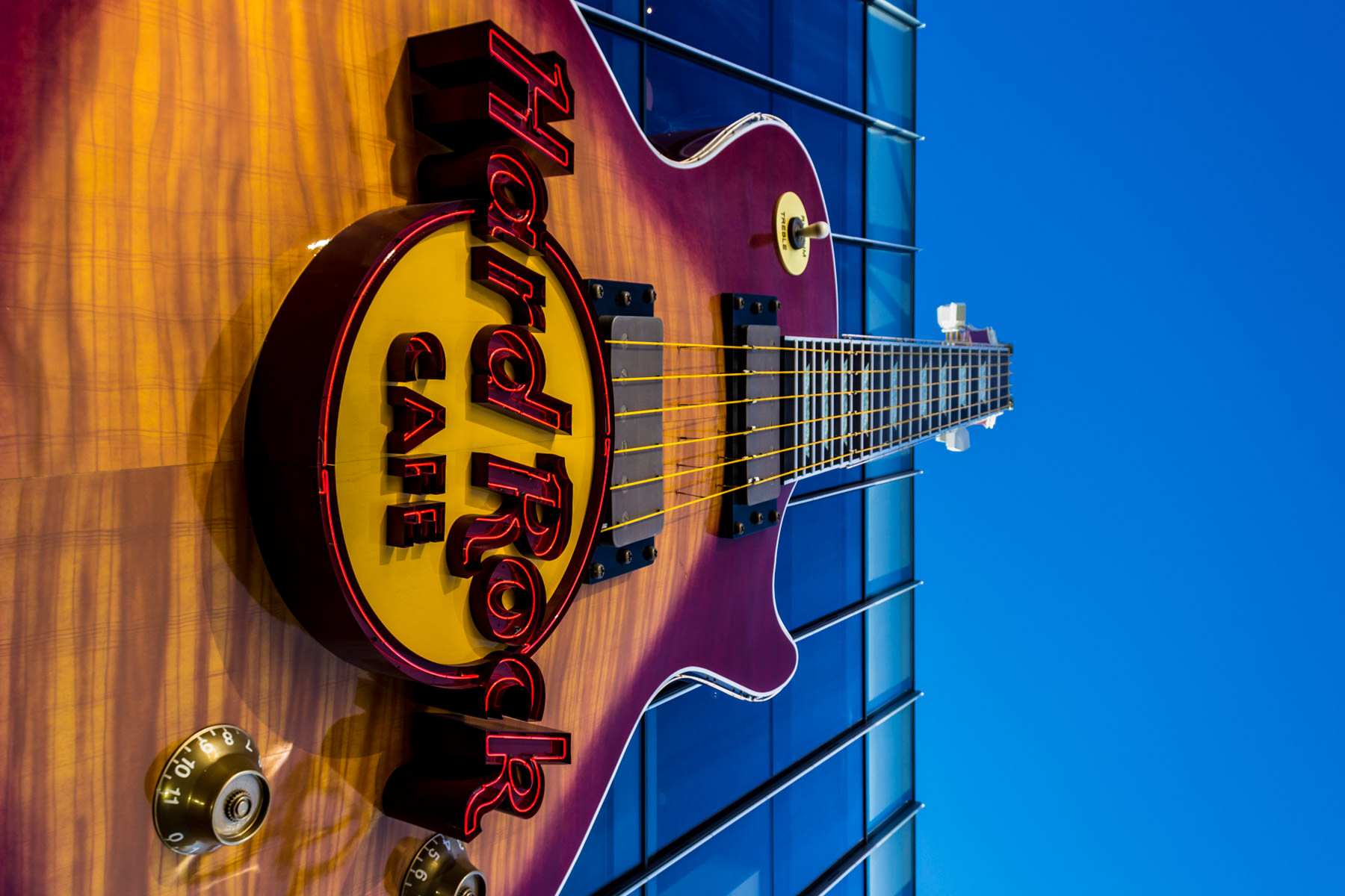 The guitar-shaped sign for the Hard Rock Cafe in Las Vegas.