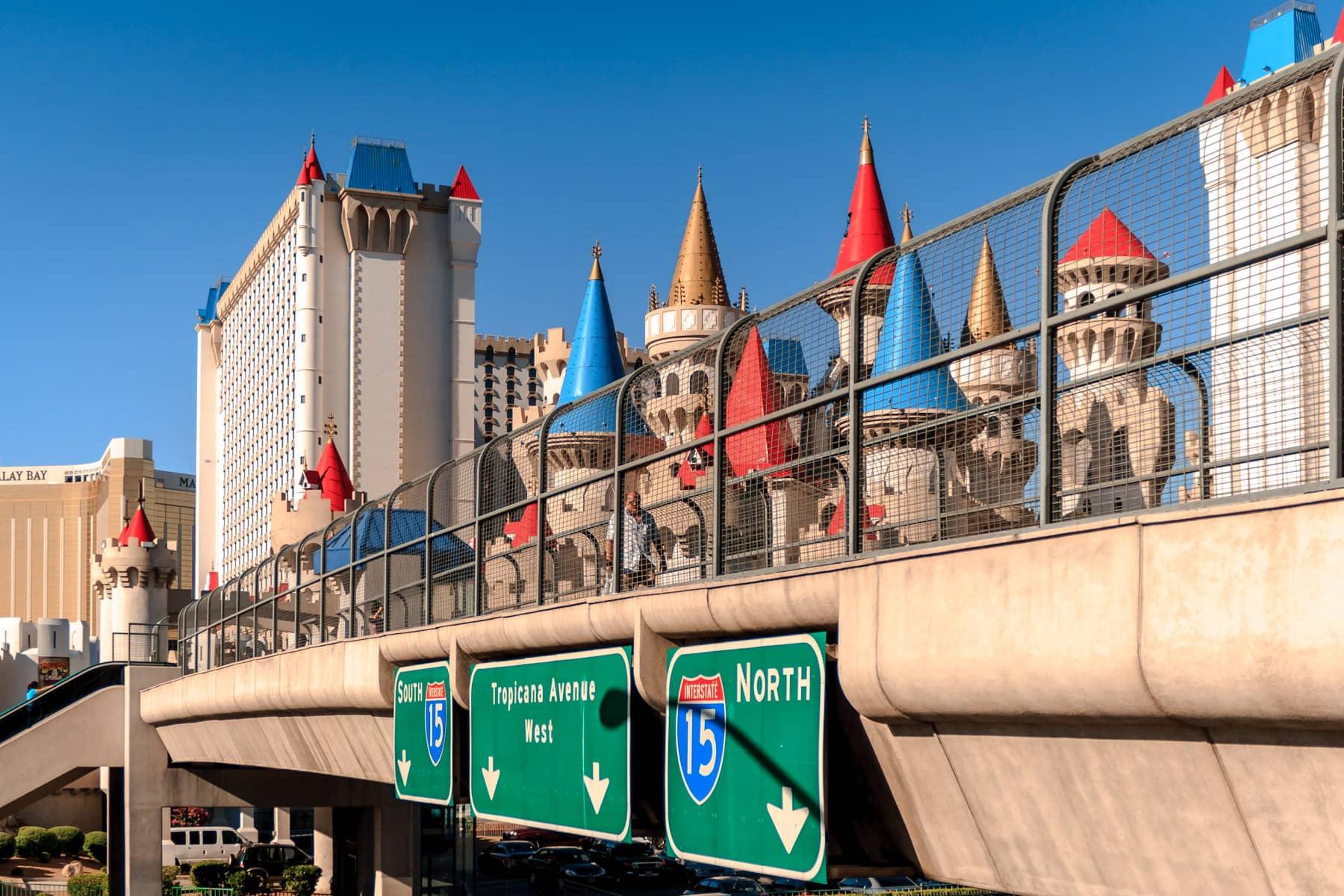 A pedestrian bridge over Las Vegas' Tropicana Avenue, connecting New York New York with the Excalibur.