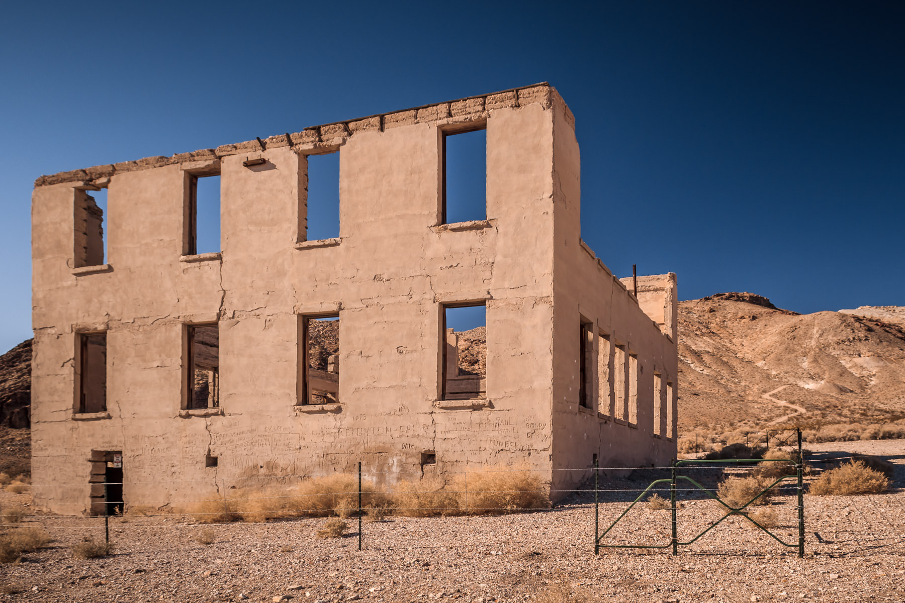 The remains of a long-dead, abandoned building in the Nevada ghost town of Rhyolite, near the California border.