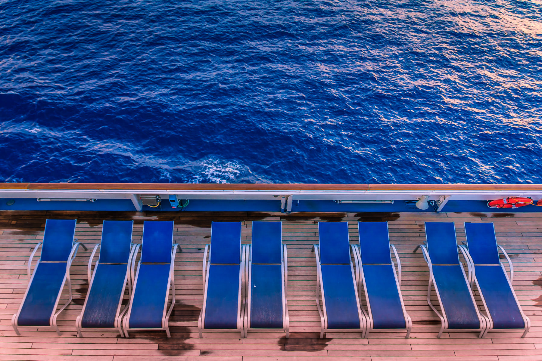 Chaise longues aboard the cruise ship Carnival Triumph, somewhere in the Gulf of Mexico.
