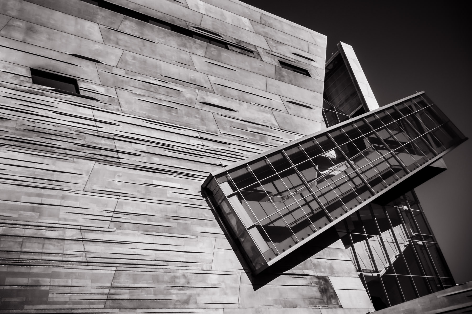 Exterior detail of Dallas' Perot Museum of Nature & Science.