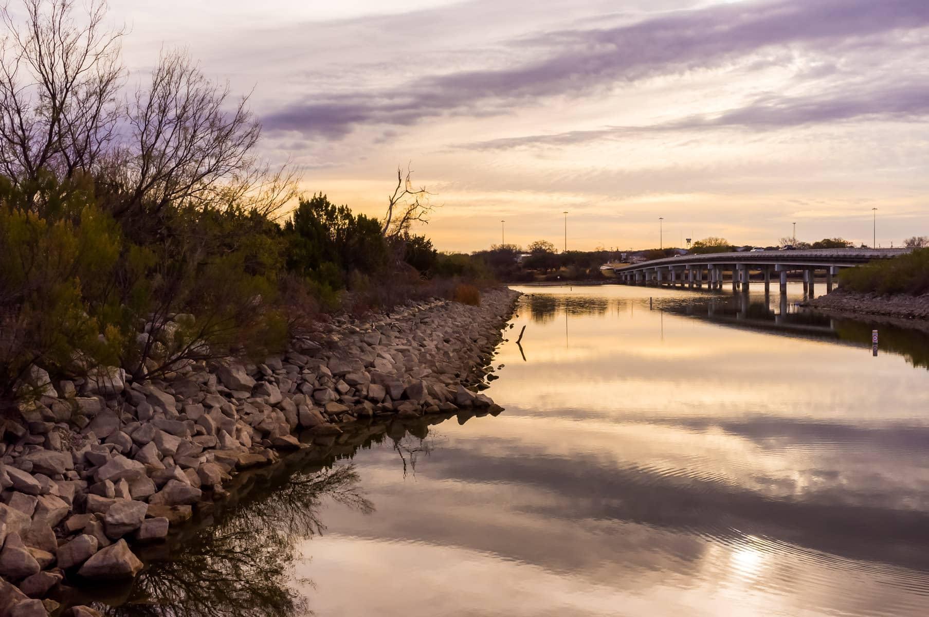 The sun's first light illuminates Lake Granbury, Texas.