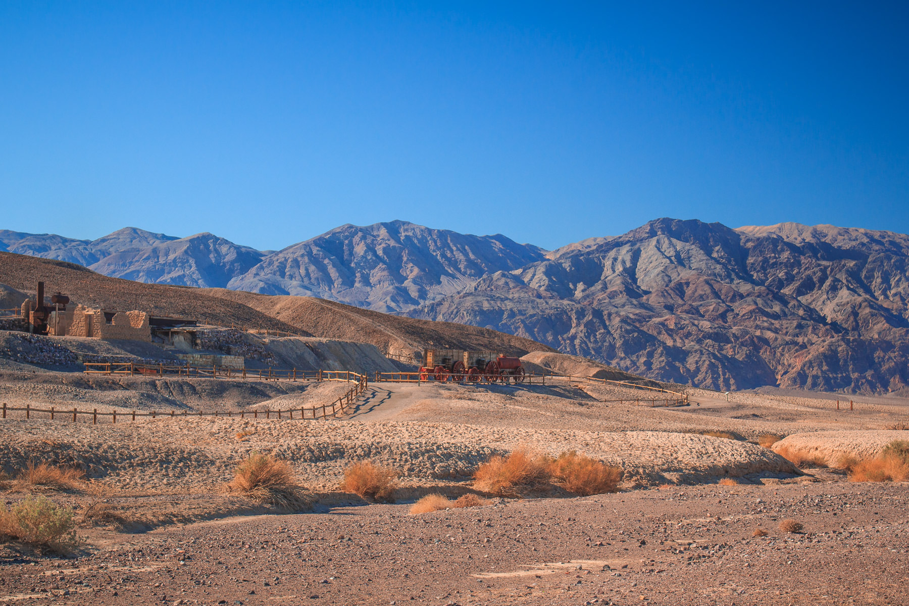 The Harmony Borax Works ruins and interpretive center at Death Valley National Park, California.
