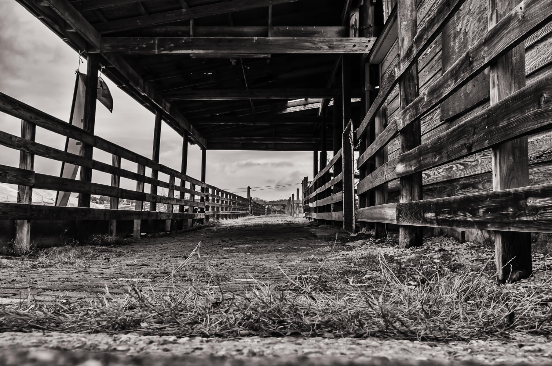 Wooden fences from an old cattle pen in Fort Worth, Texas' Stockyards District.