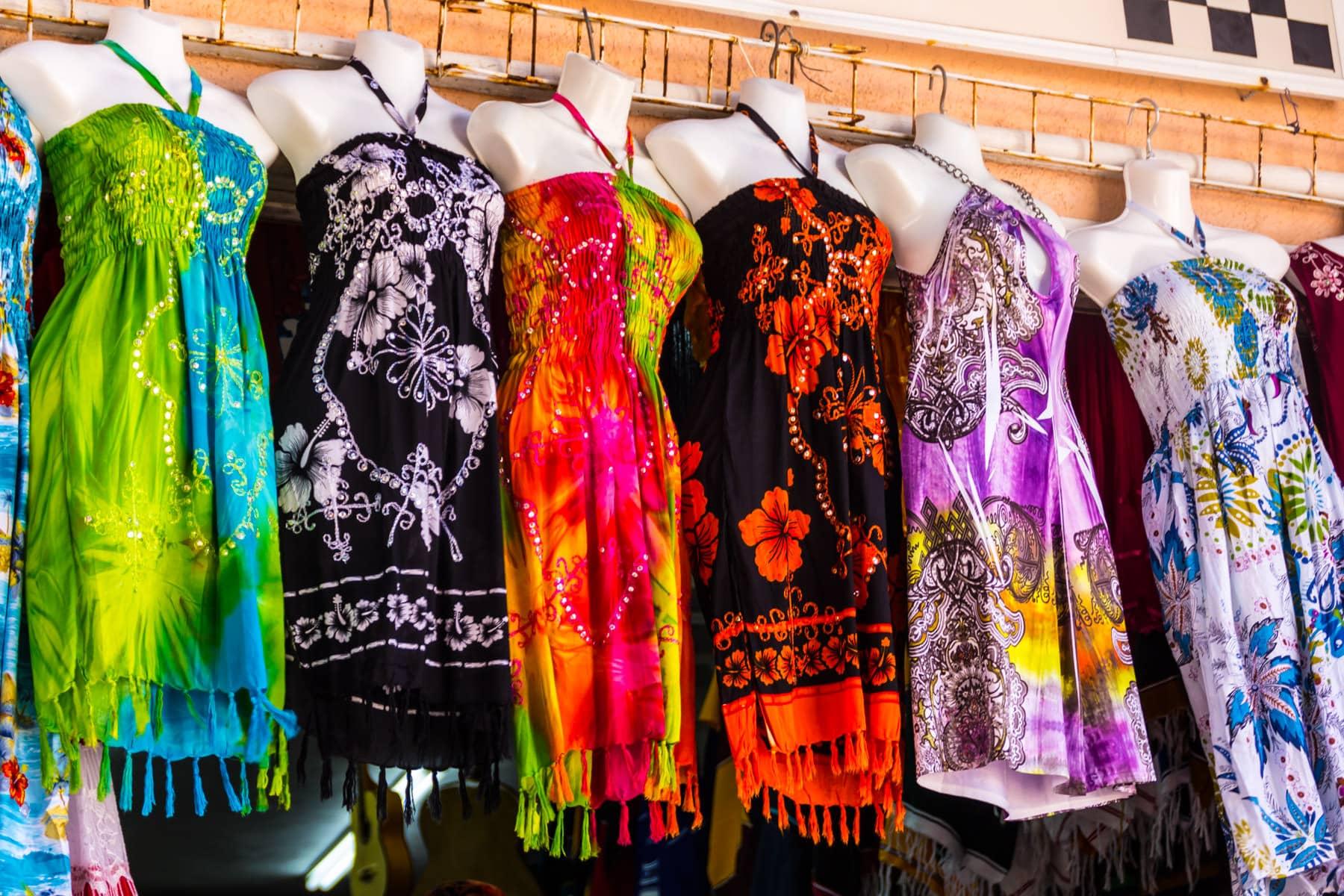 Dresses spotted for sale in Progreso, Yucatan, Mexico.