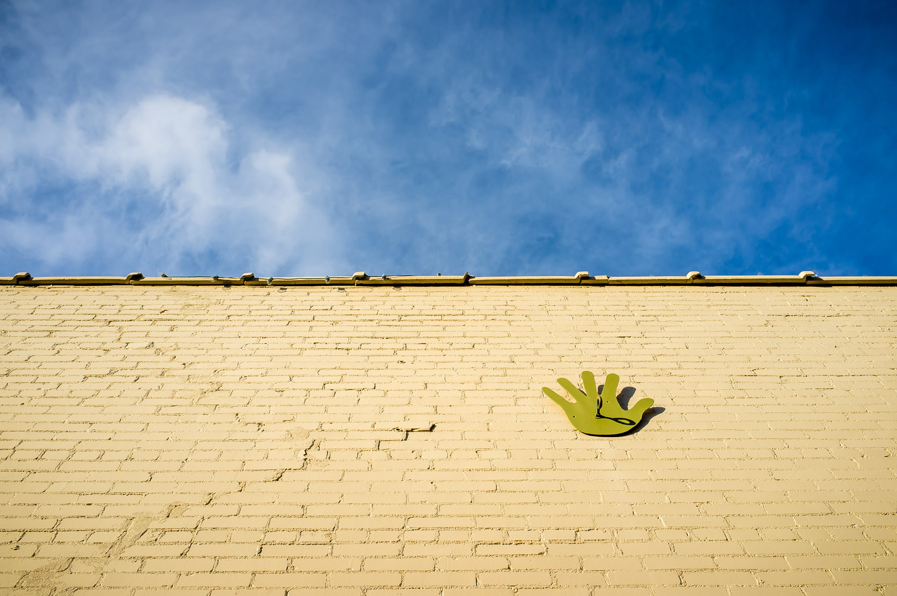 An outline of a hand spotted on the outside of the Discovery Science Place, Tyler, Texas.