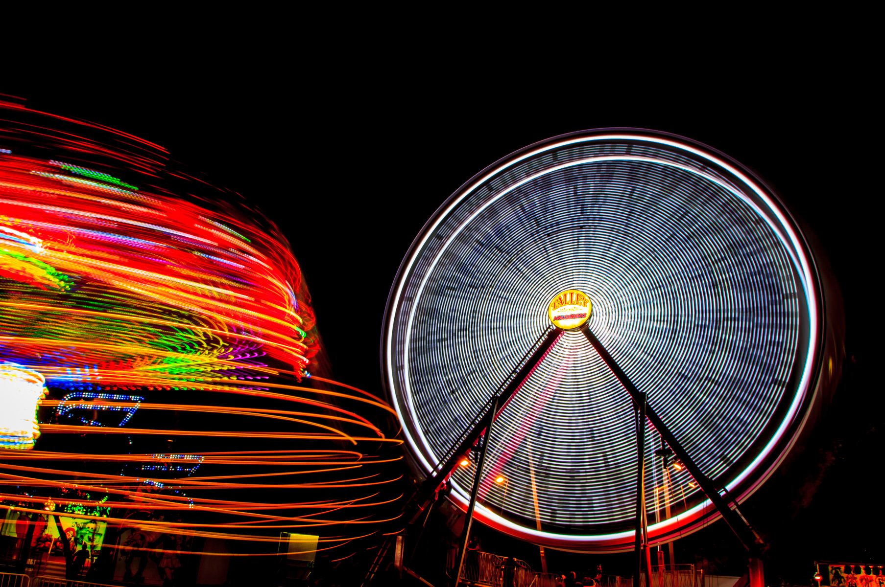 A long exposure of carnival rides at Addison Oktoberfest, Addison, Texas.