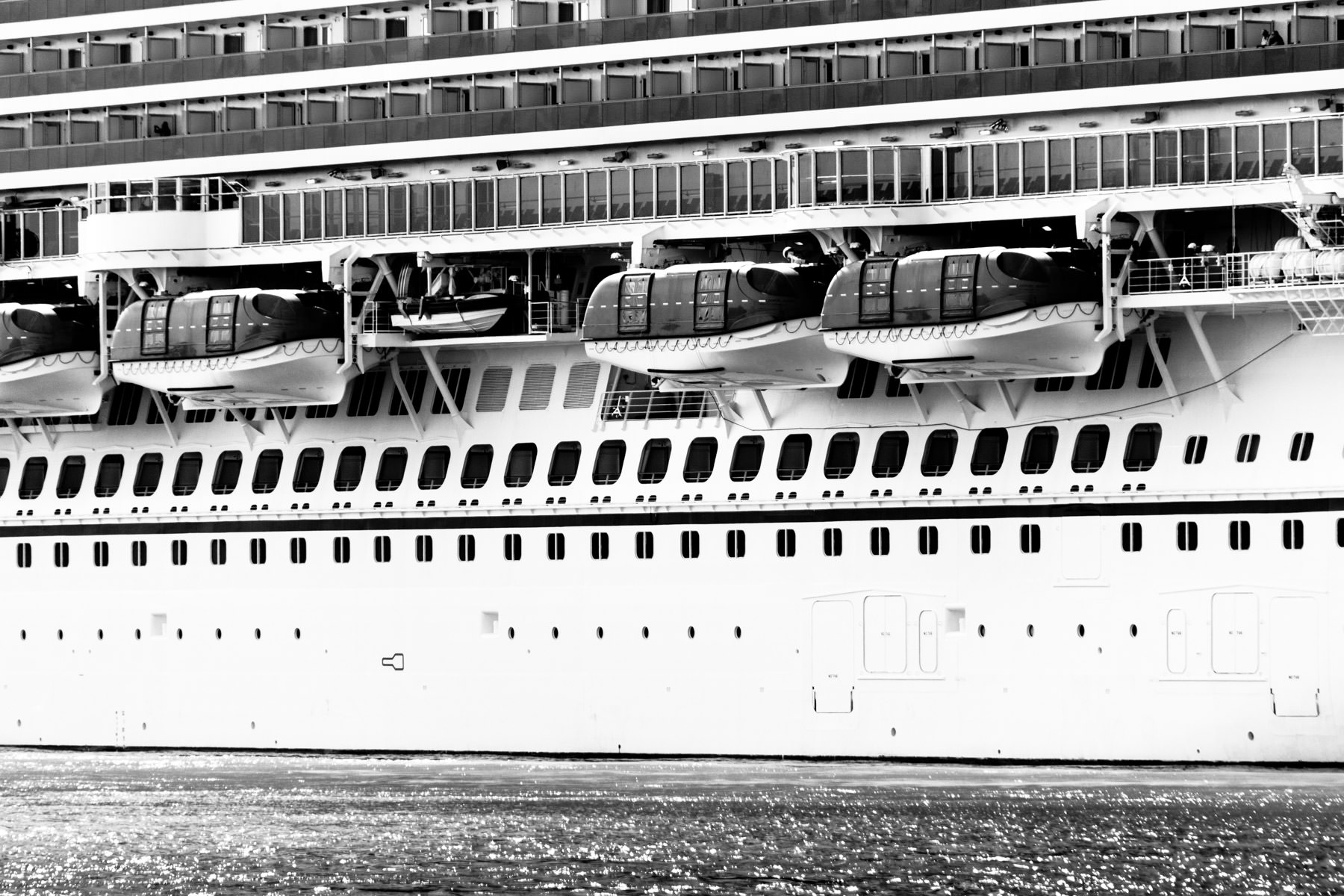 Exterior detail of the Carnival Magic as she sets sail from the Port of Galveston, Texas.