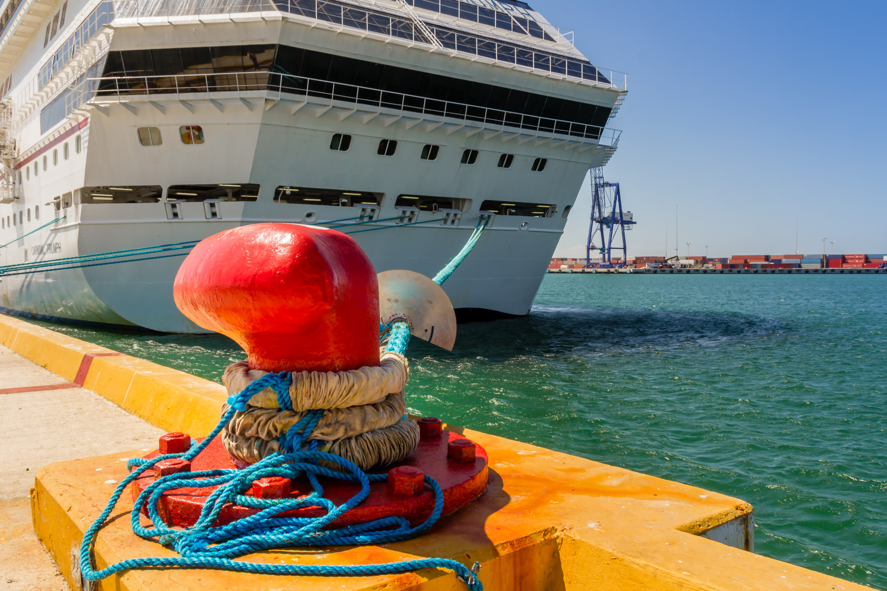 A hawser, or large rope, ties the Carnival Triumph to a dock's bitt at Progreso, Mexico.