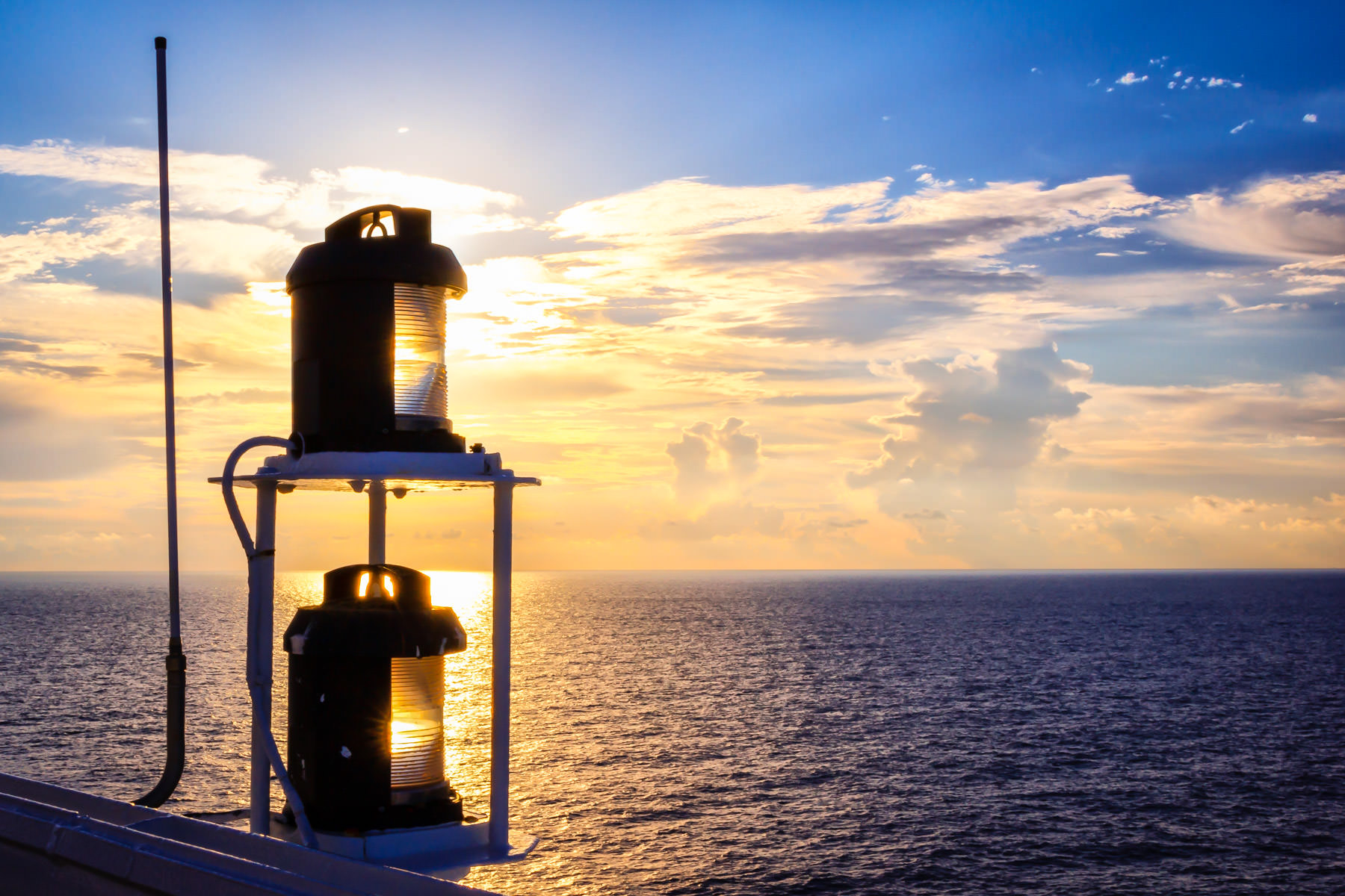 A light obscures the sun aboard the Carnival Triumph, somewhere in the Gulf of Mexico.