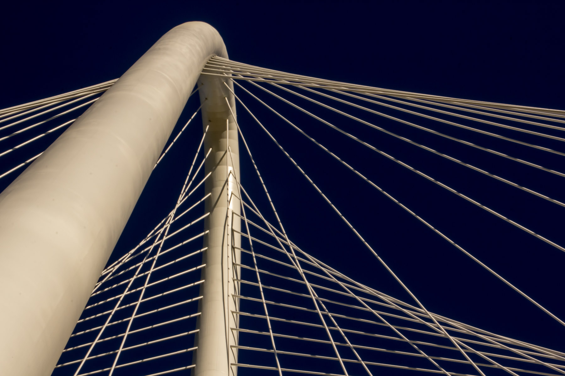 The main arch and the support cables for Santiago Calatrava's Margaret Hunt Hill Bridge, Dallas.