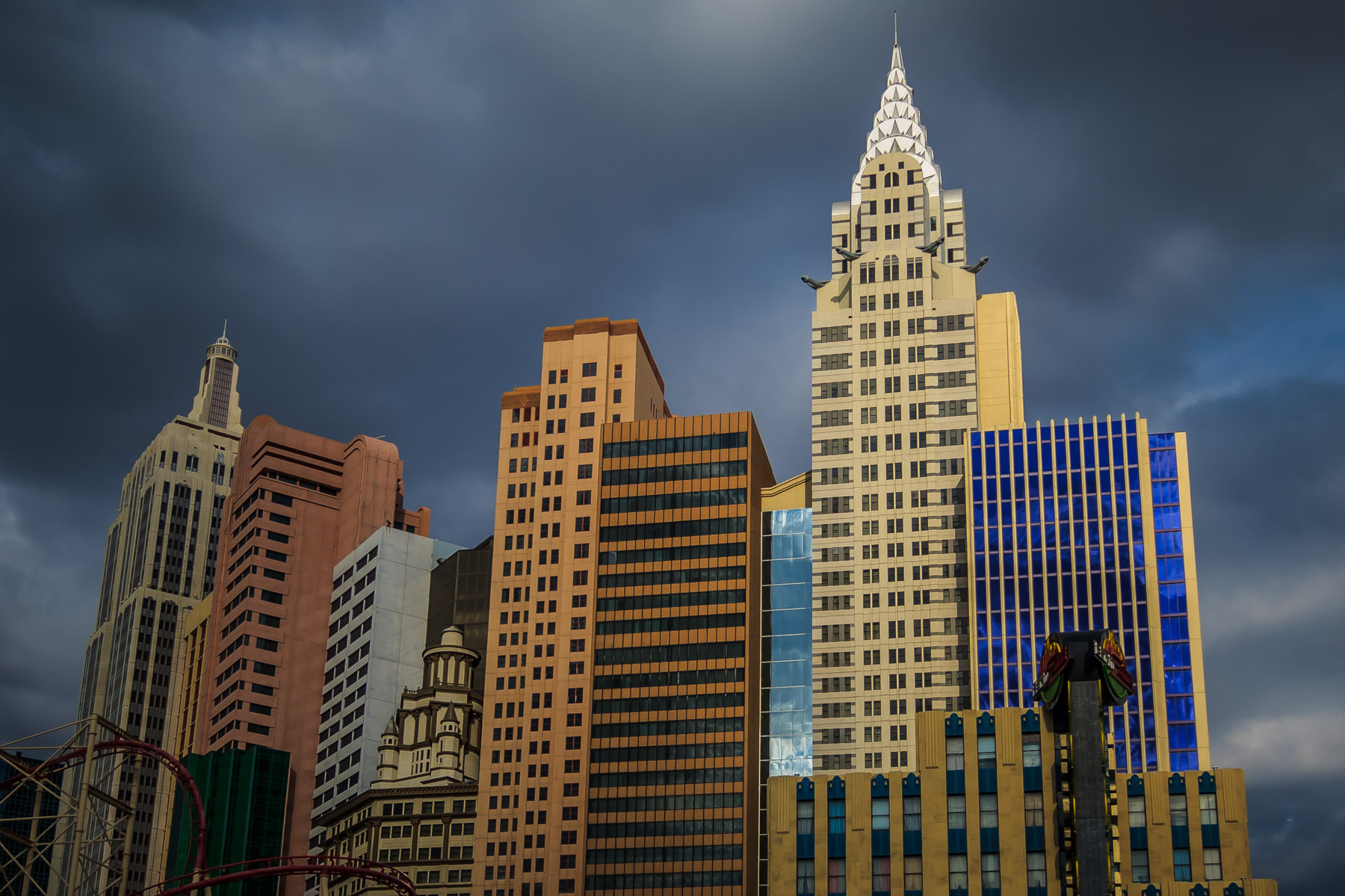 Storm clouds form above New York New York Hotel and Casino, Las Vegas.