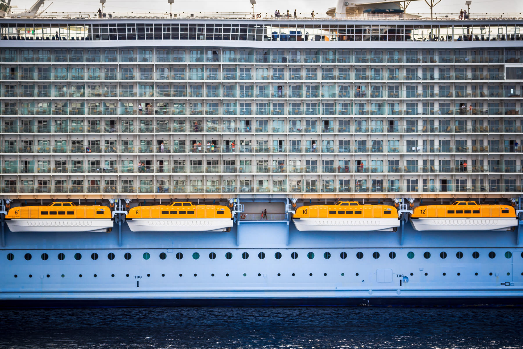 Detail of Royal Caribbean's Allure of the Seas—the largest passenger ship ever built—while docked in Cozumel, Mexico.