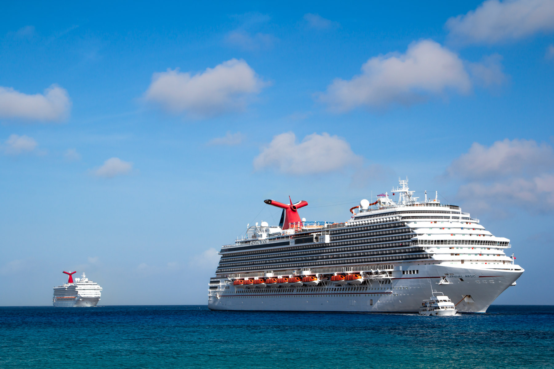 The Carnival Magic and the Carnival Liberty off the coast of George Town, Grand Cayman.
