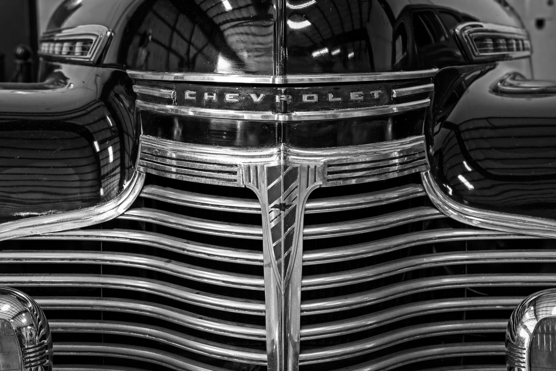 Detail of a classic Chevrolet found at Addison, Texas' Cavanaugh Flight Museum.