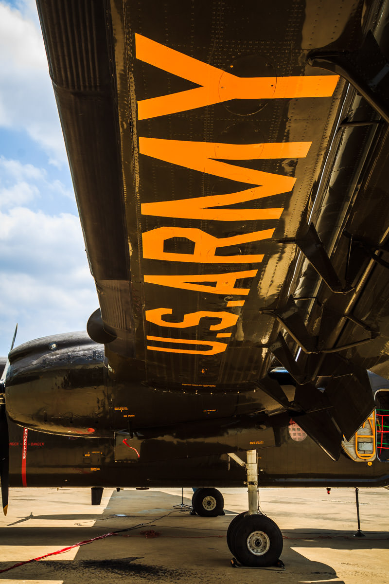 Underwing detail of a U.S. Army de Havilland Canada DHC-4 Caribou at the Cavanaugh Flight Museum, Addison, Texas.