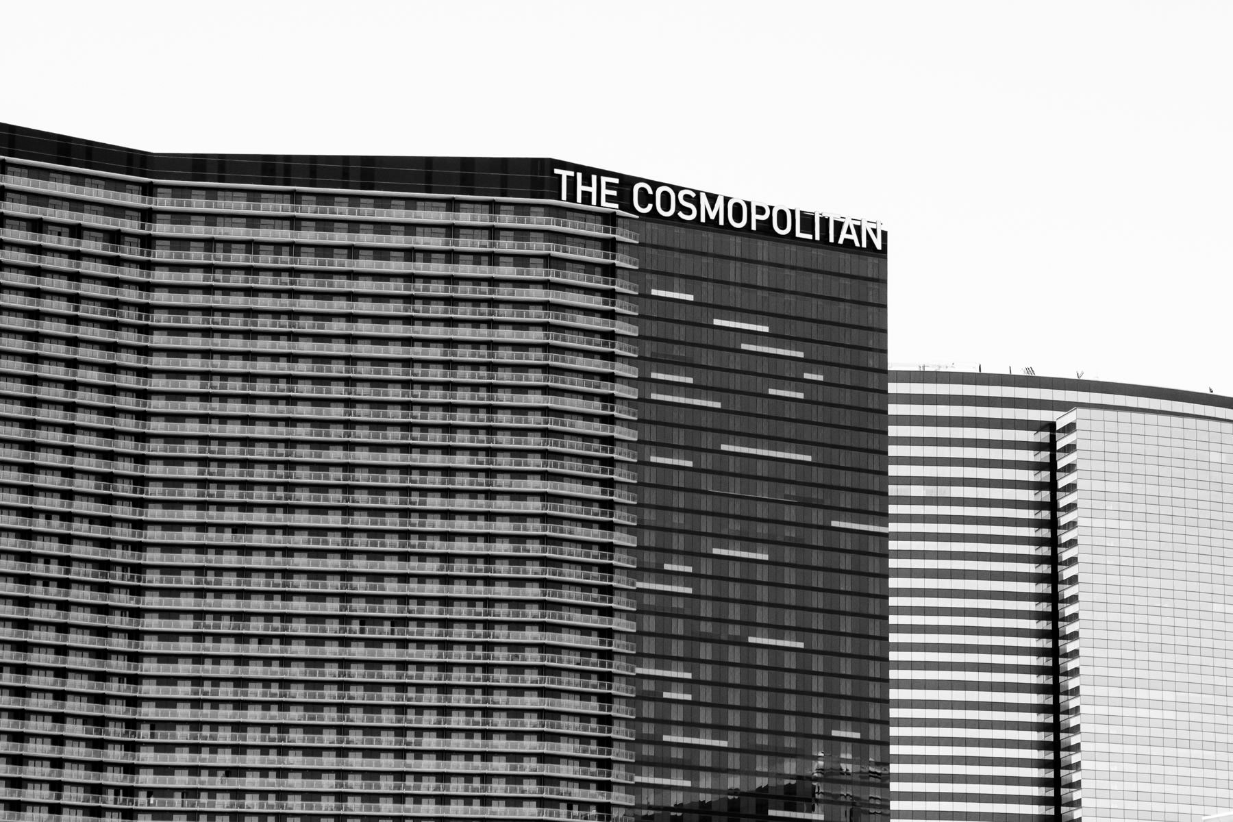 The Cosmopolitan of Las Vegas, flanked by the Aria Hotel and Casino.