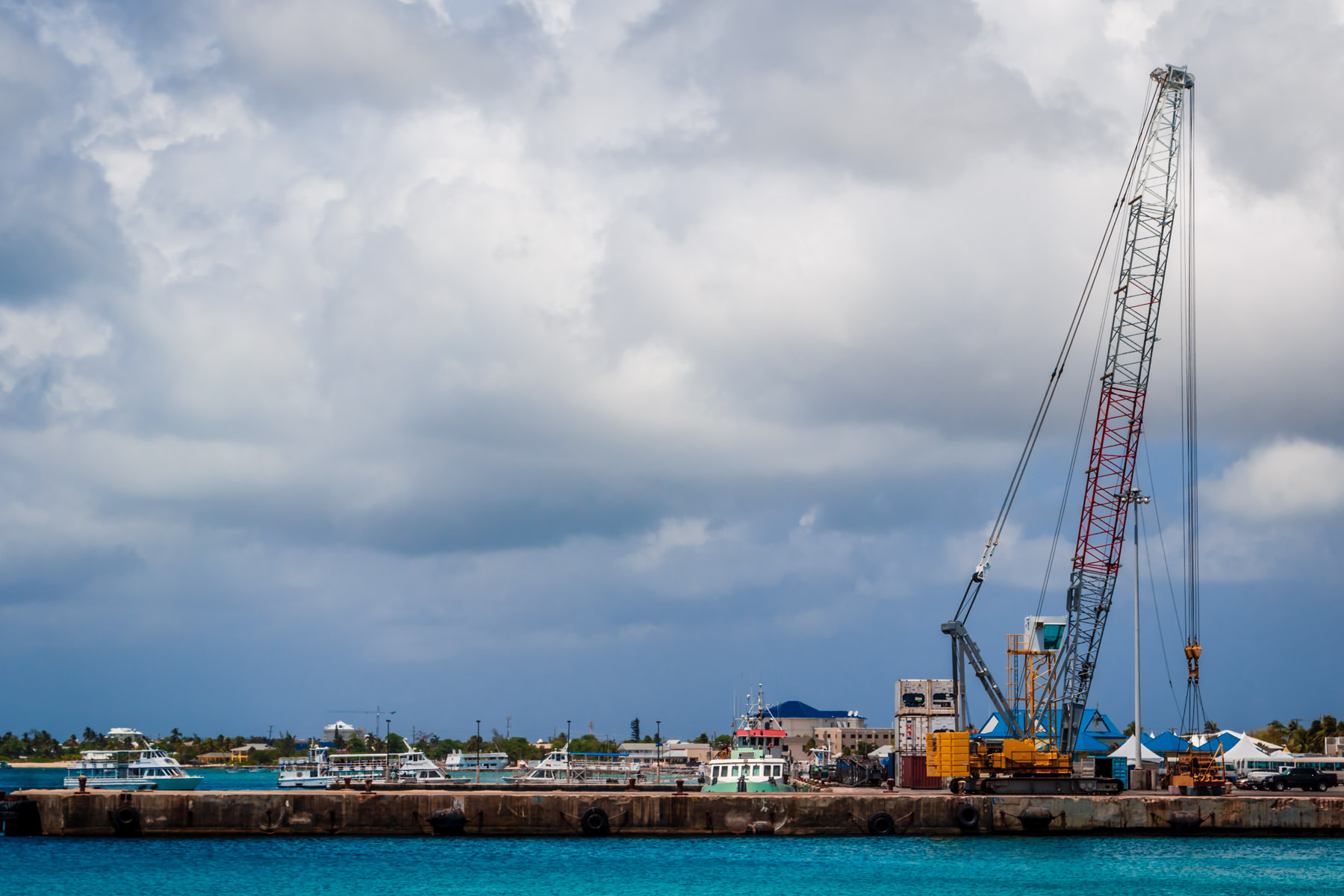 A crane on a wharf in George Town, Grand Cayman.