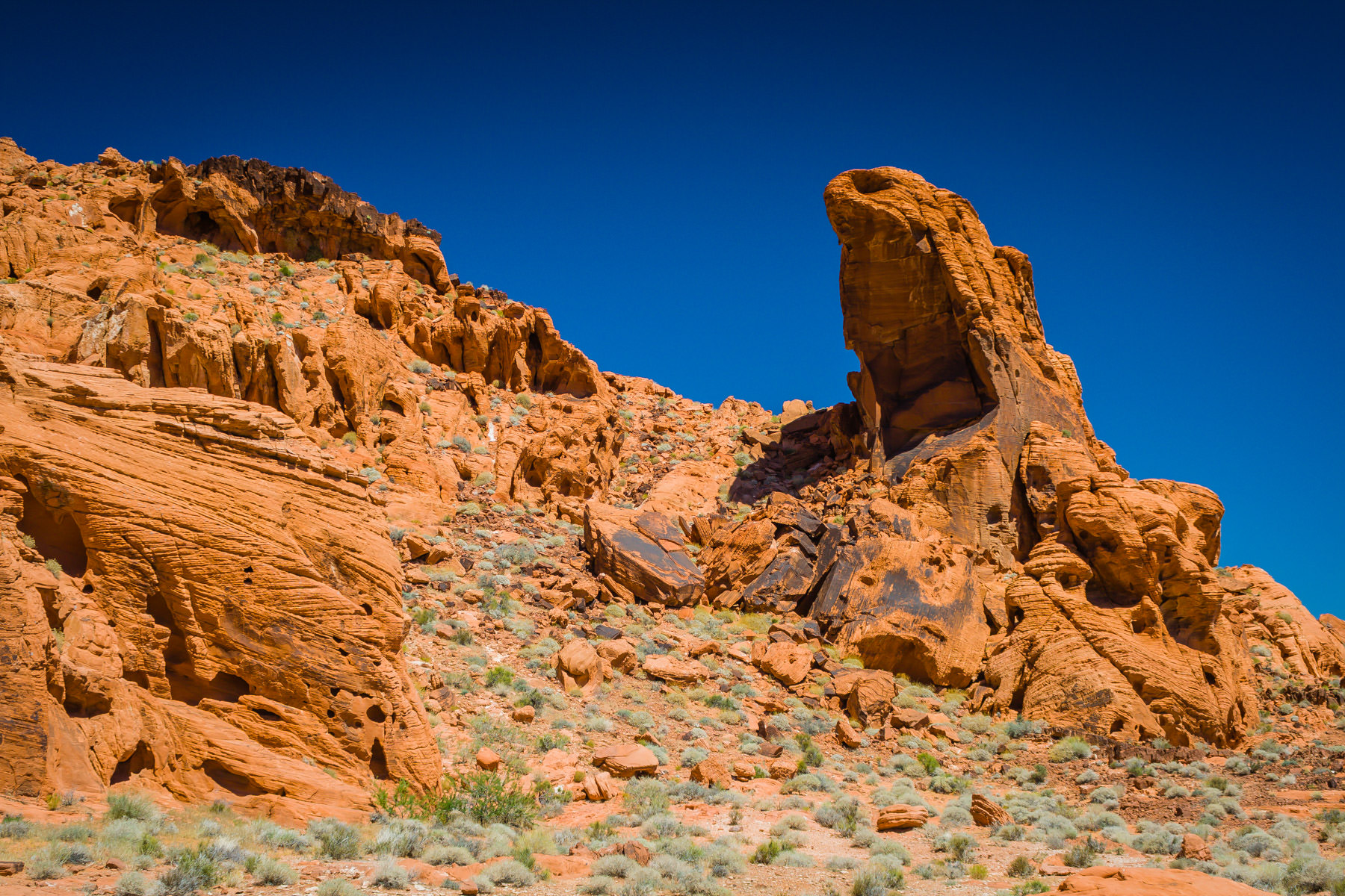 A red, rocky, desert landscape at Nevada's Valley of Fire State Park.