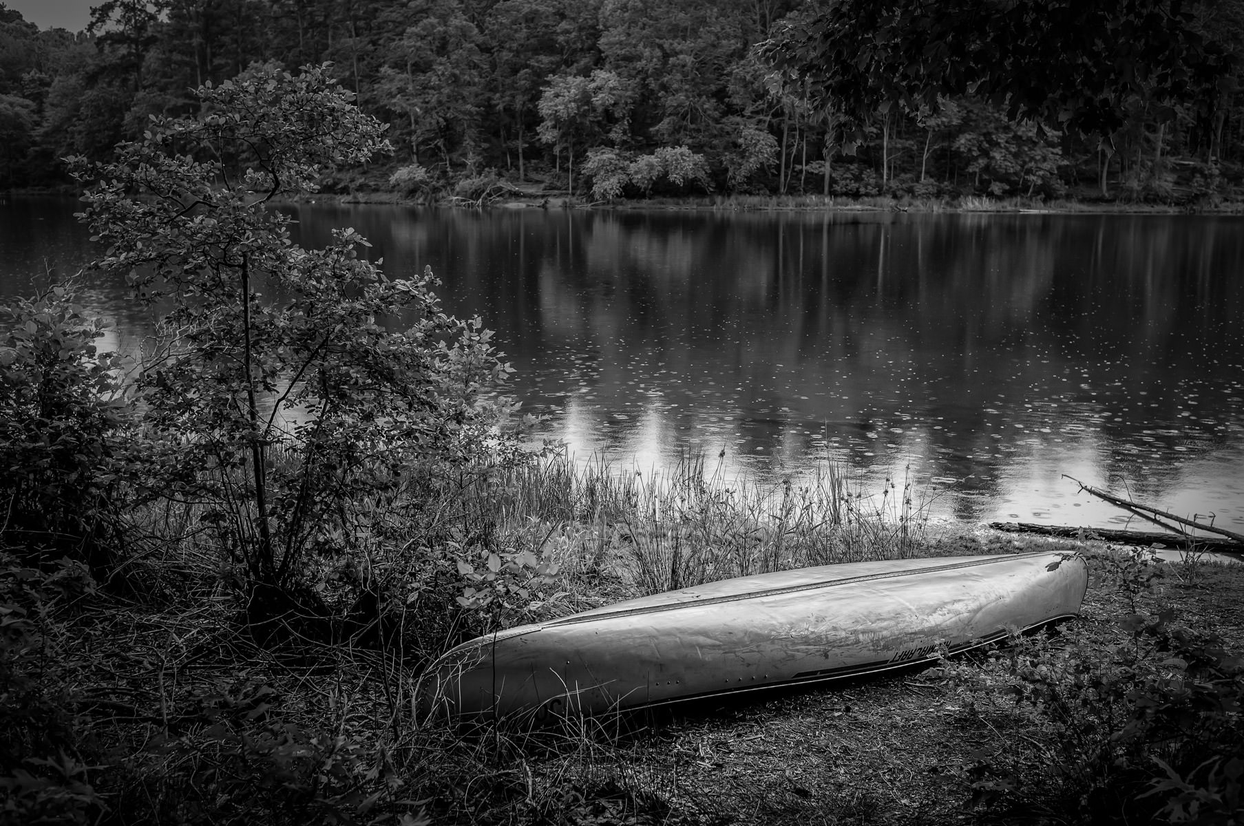 A canoe abandoned on the shore of the lake at Tyler State Park, Texas.