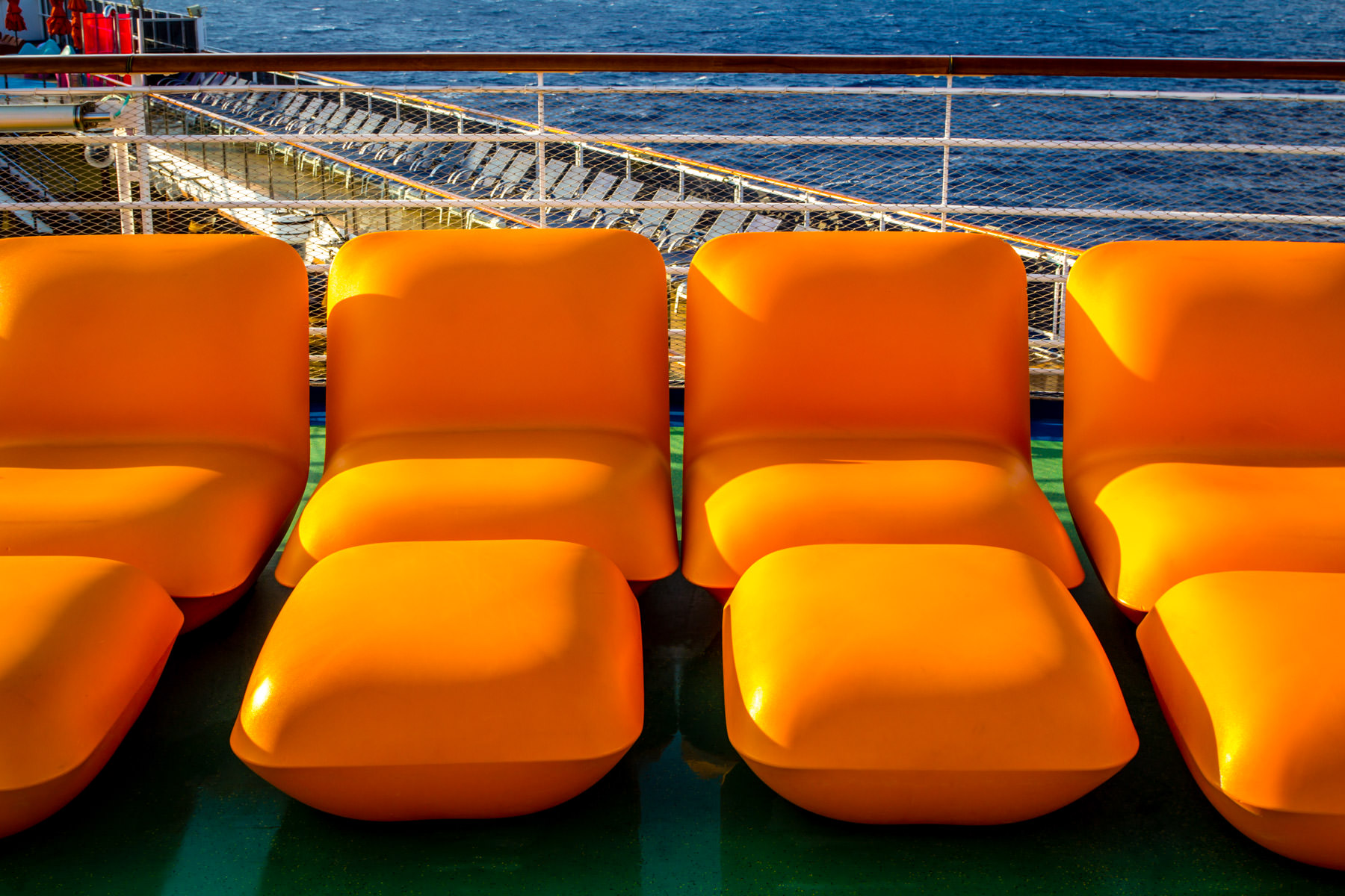 Unique chaise longues aboard the Carnival Magic.