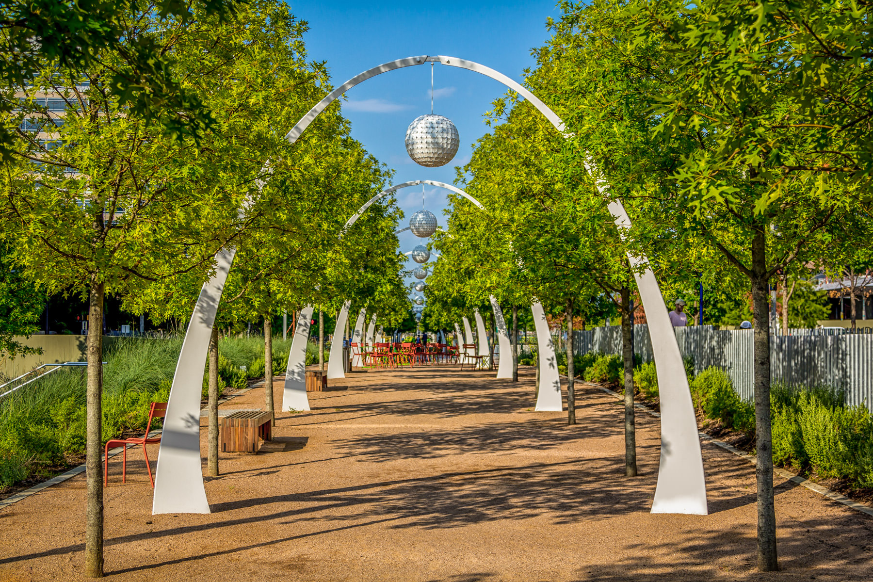 A series of arches in Dallas' Klyde Warren Park.