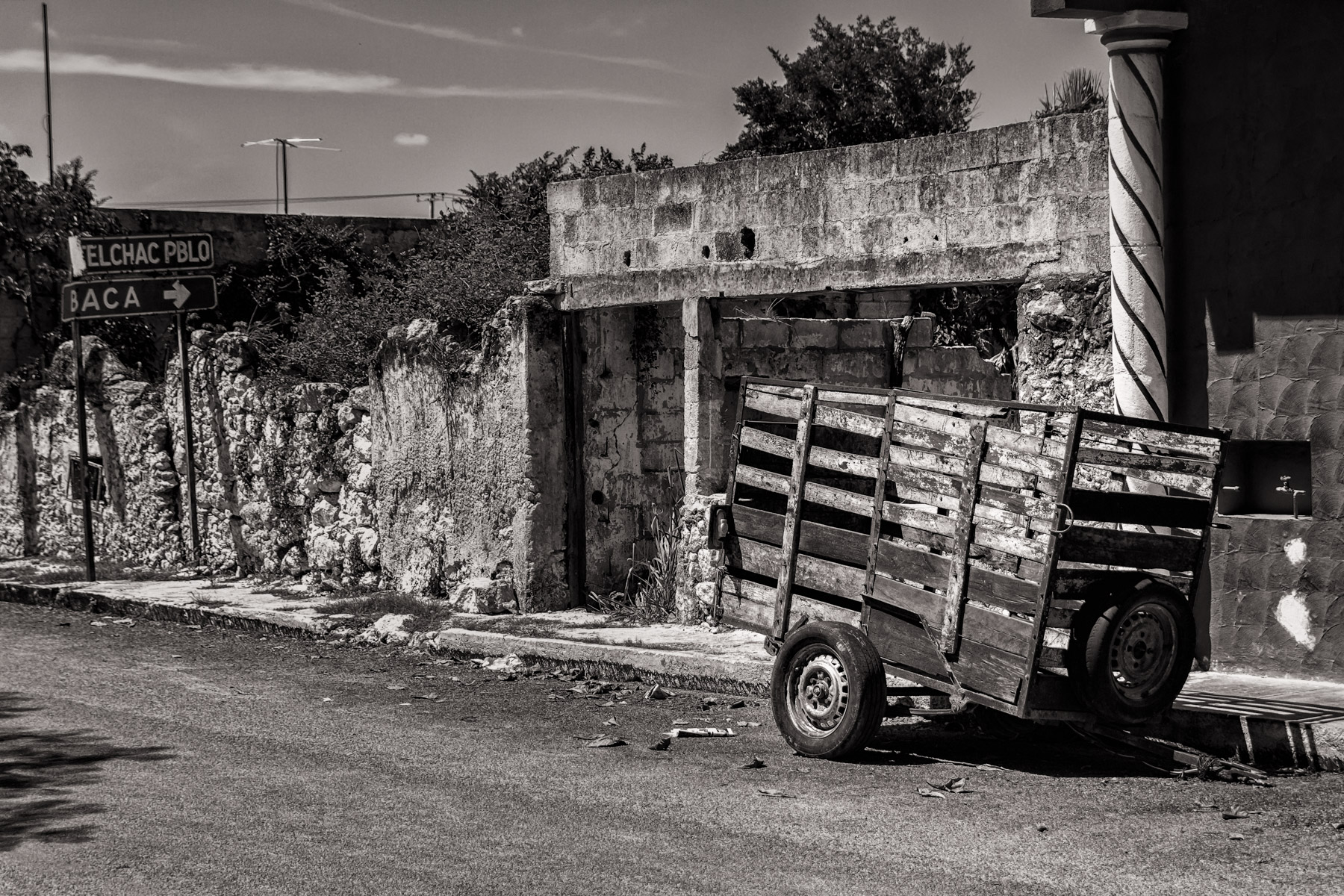 A dilapidated wagon on a road in the tiny town of Dzemul, Yucatan, Mexico.