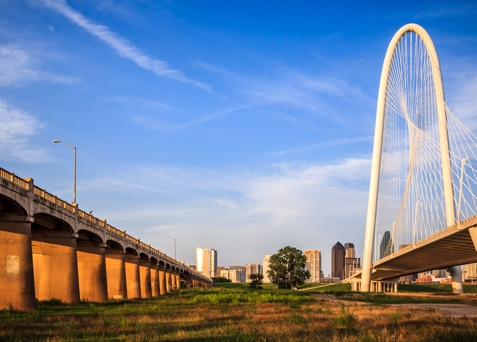 Dallas' Continental Avenue Viaduct (on the left) and Margaret Hunt Hill Bridge (right) span the Trinity River floodplain just west of downtown.
