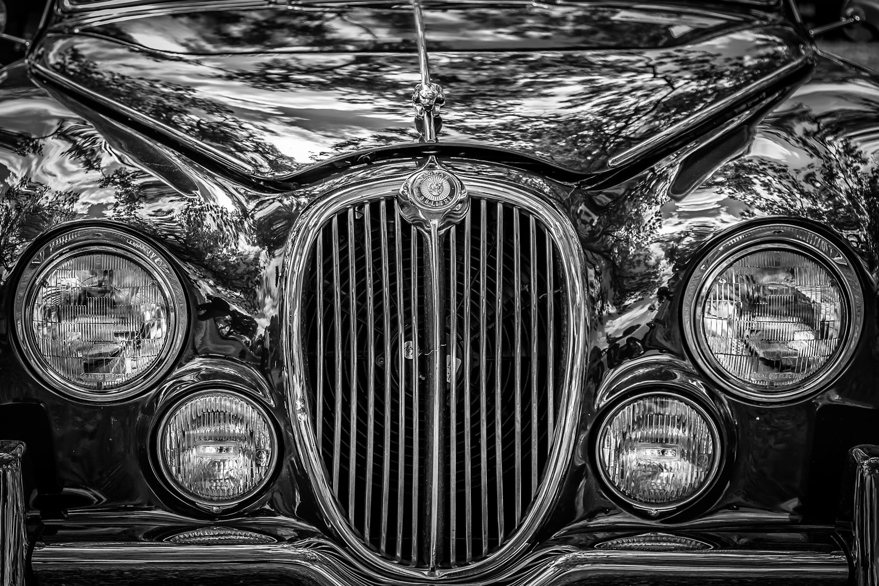 Detail of a classic Jaguar Mark 2 at Dallas' All British and Europe