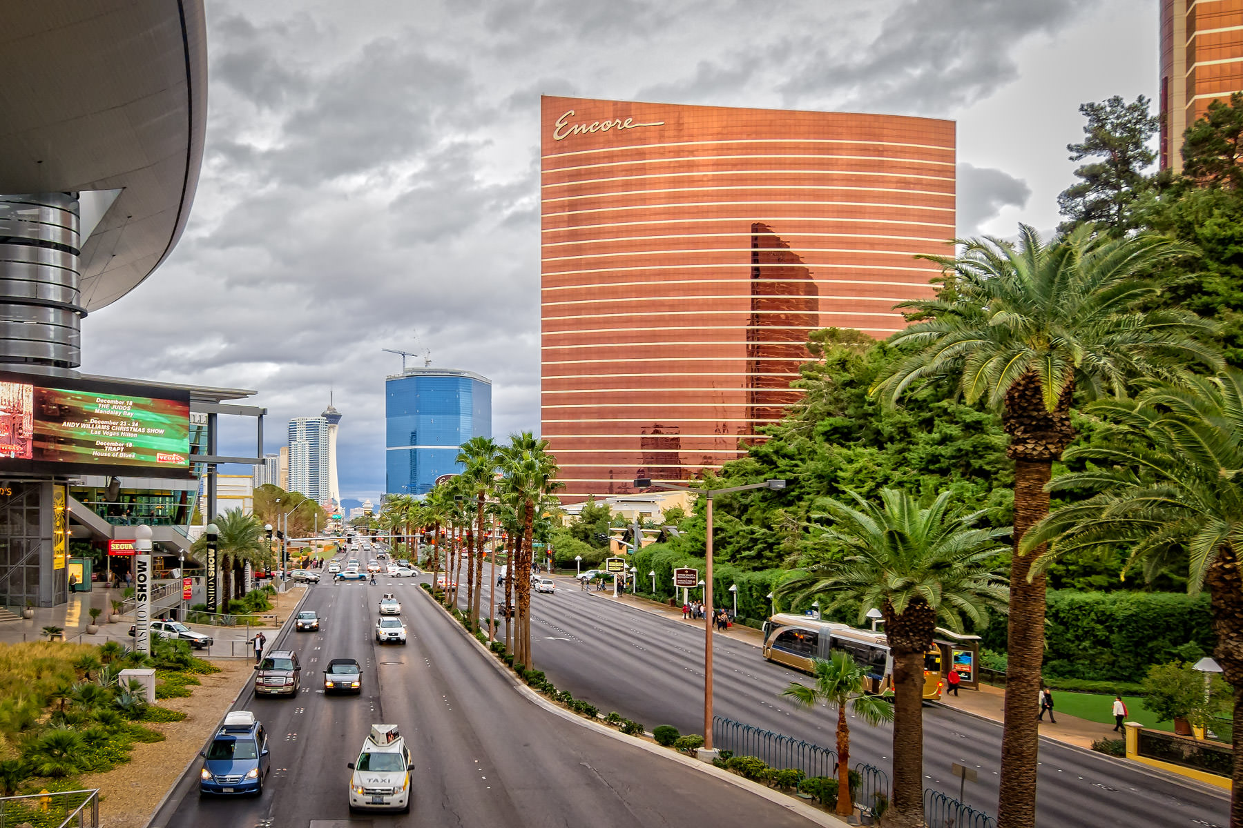 The Las Vegas Strip looking northward as seen from a pedestrian bridge adjacent to the Fashion Show Mall.