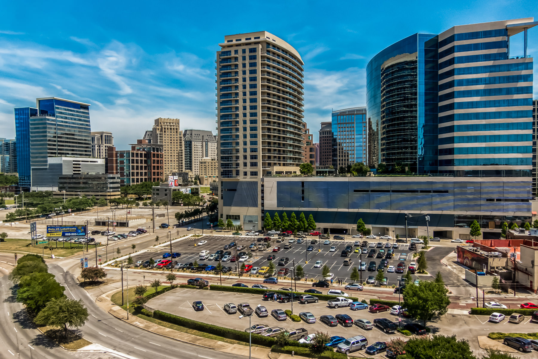 The varied architecture of Uptown Dallas, as seen from the Perot Museum of Nature and Science.