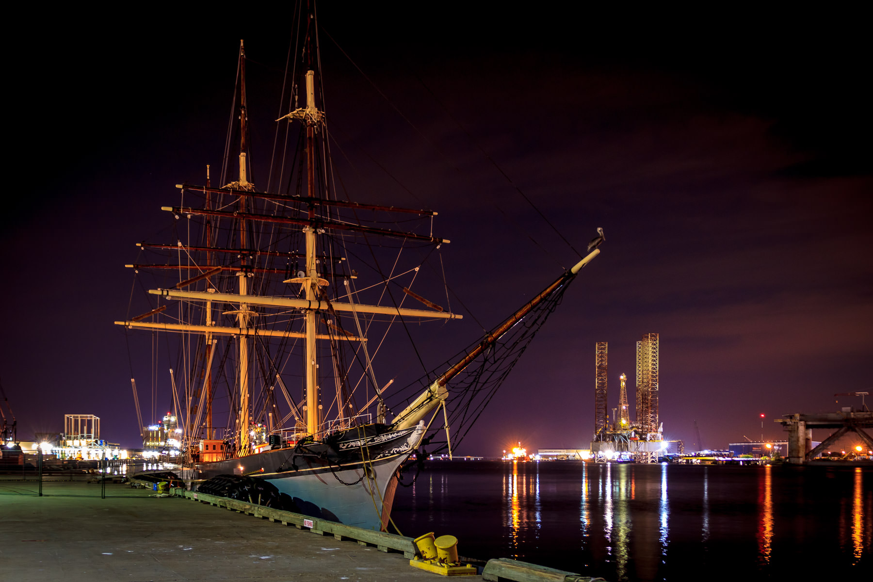 A night time shot of the Elissa, a tall ship launched in 1877 and now ported in Galveston, Texas.