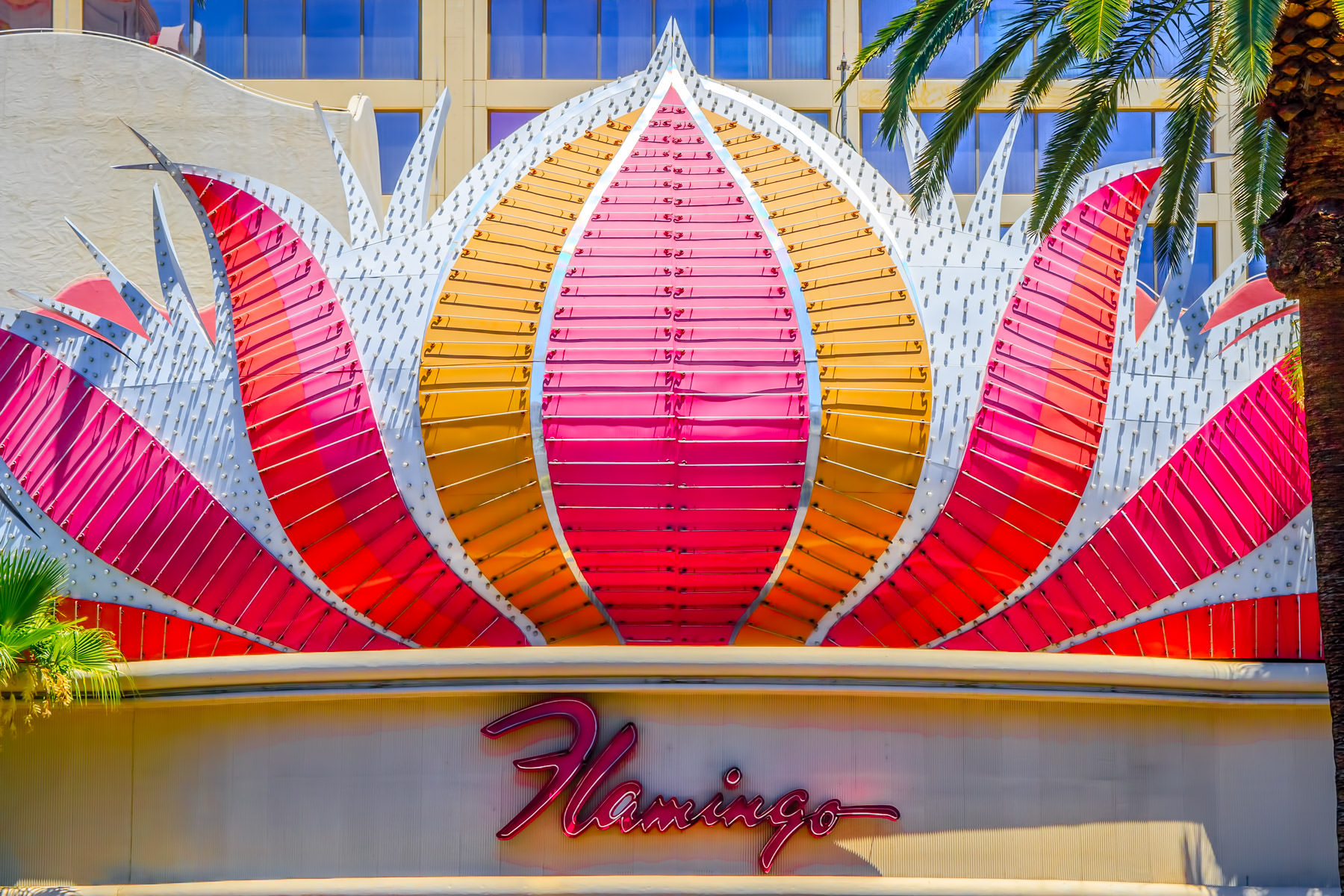 Exterior sign detail of The Flamingo Hotel & Casino, Las Vegas.