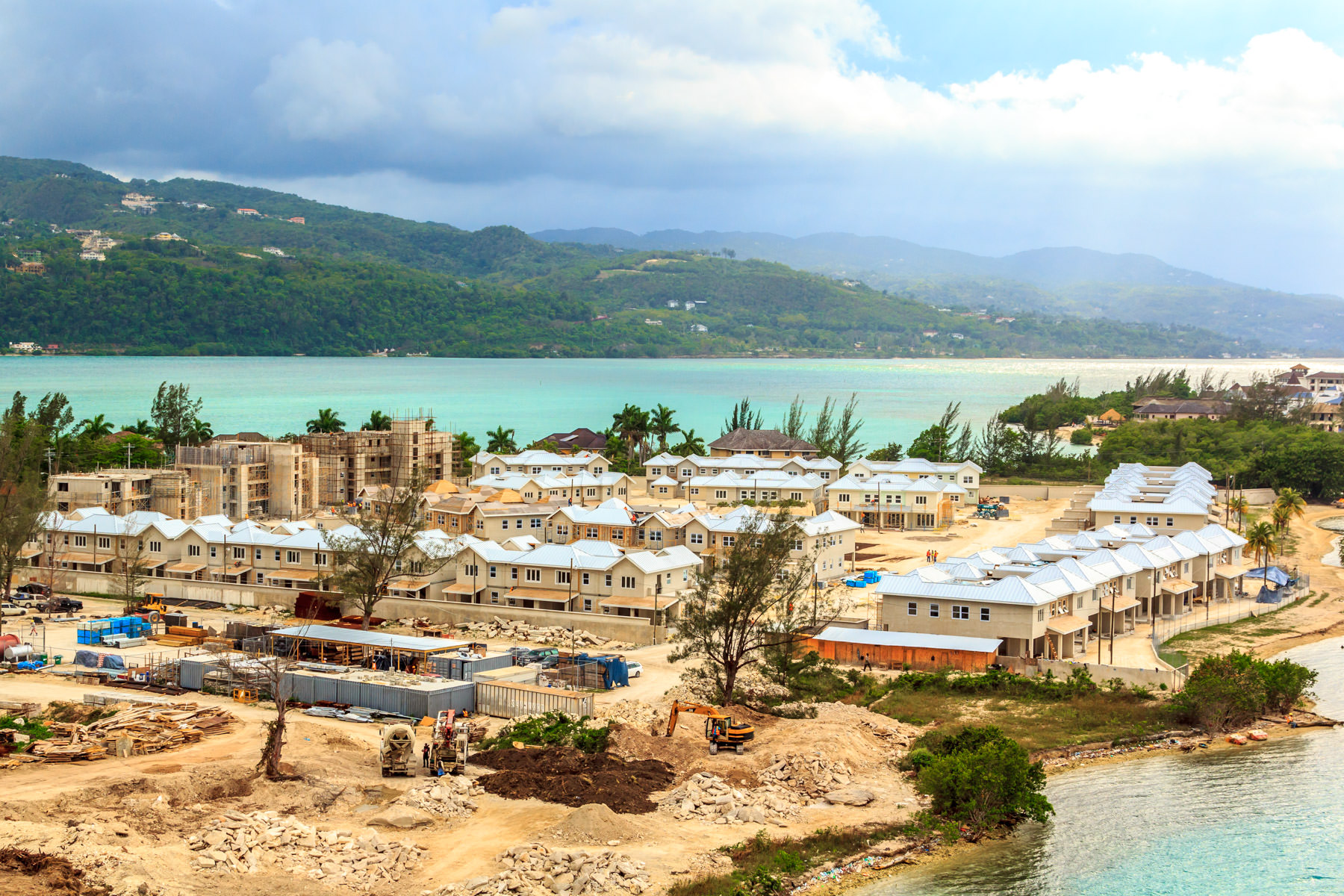 A resort under construction on the shore of Montego Bay, Jamaica.