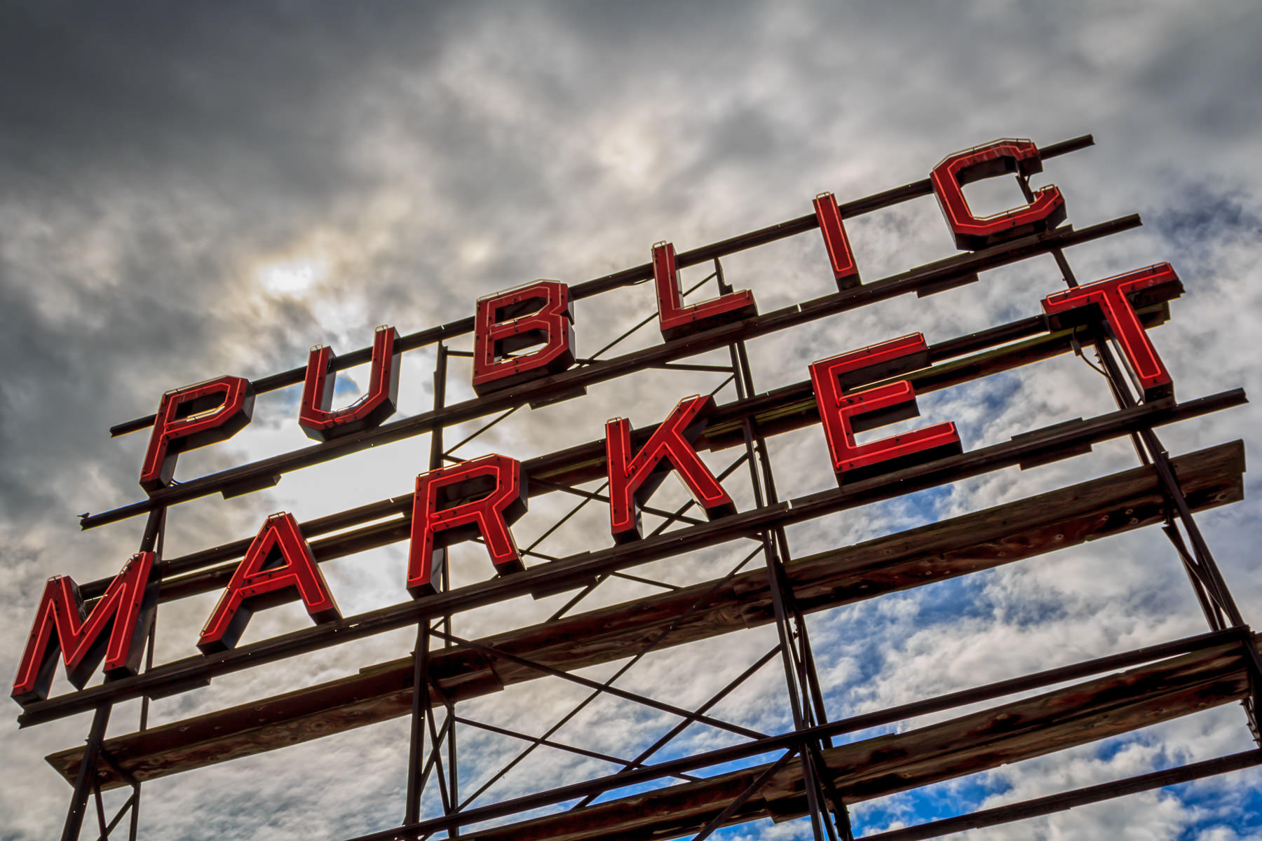 One of the large, rooftop signs at Seattle's Pike Place Market.