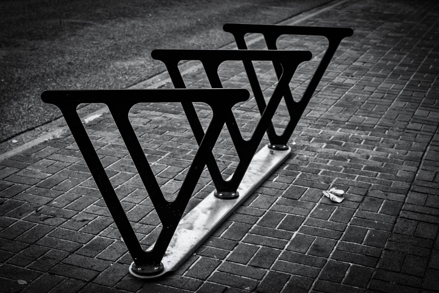 The unique, V-shaped bike racks of Victoria, British Columbia.
