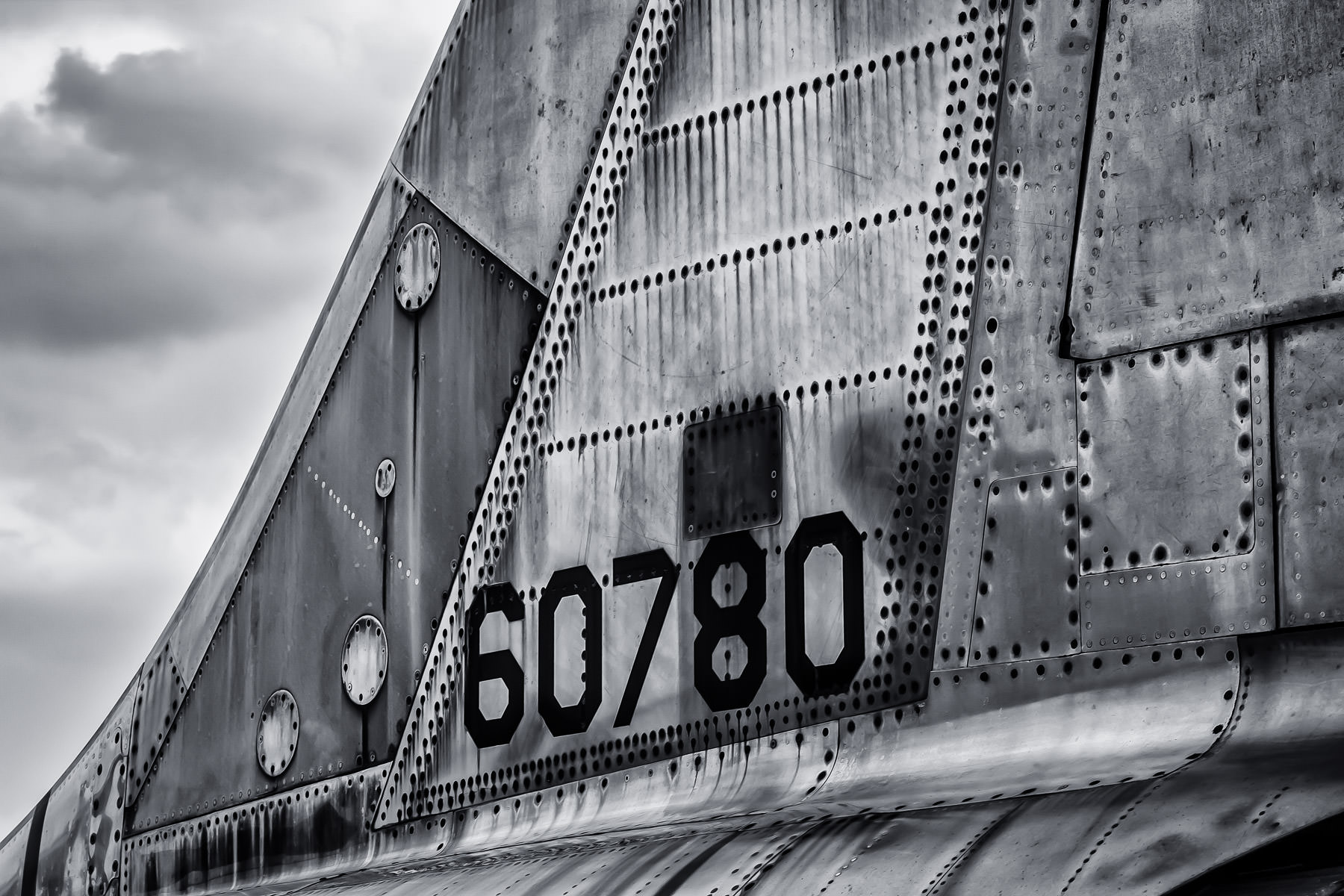 Detail of the tail of a Lockheed F-104 Starfighter at Addison, Texas' Cavanaugh Flight Museum.