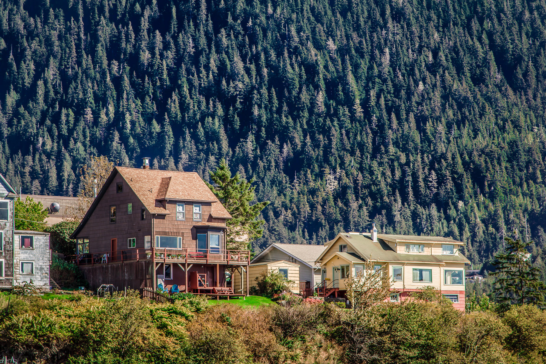Houses perched on a hillside in Ketchikan, Alaska.