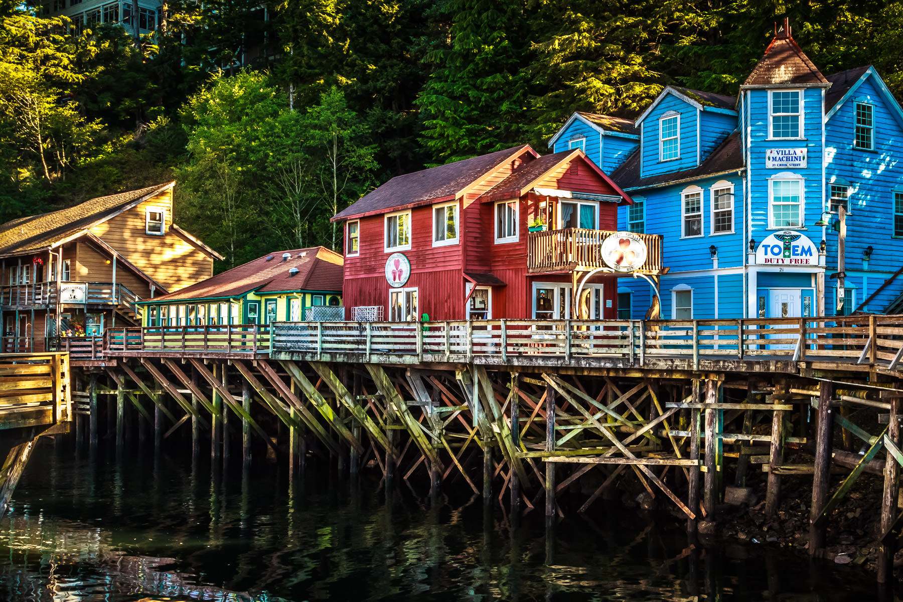 Ketchikan, Alaska's former Red Light District—a boardwalk perched over Ketchikan Creek—is now the center of the town's tourist district.