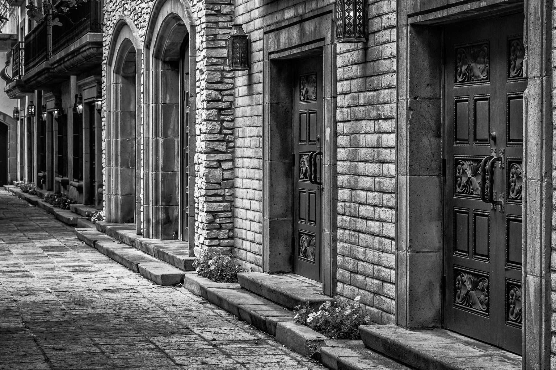 Wood doors along the Mandalay Canal, Las Colinas, Irving, Texas.