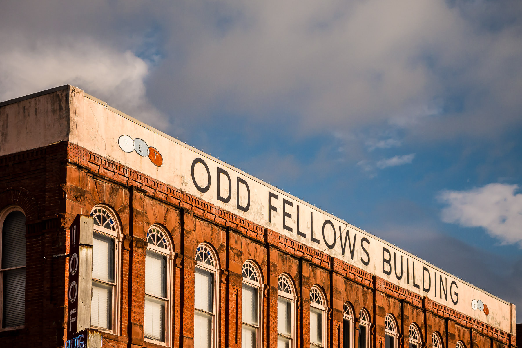 Exterior detail of the Independent Order of Odd Fellows (IOOF) lodge in Downtown Waxahachie, Texas.
