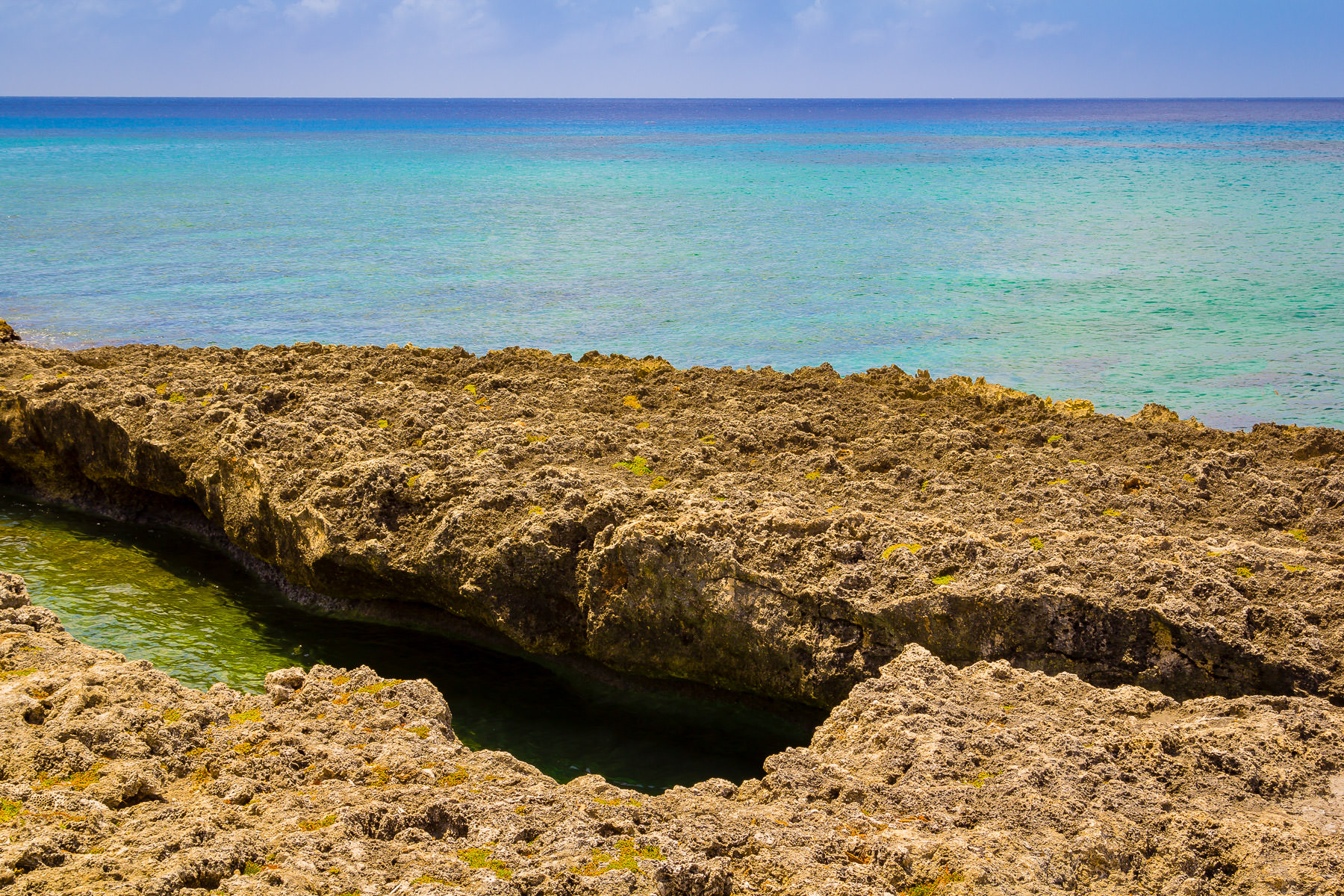 Coral rocks protrude from the Caribbean Sea just off the coast of George Town, Grand Cayman.